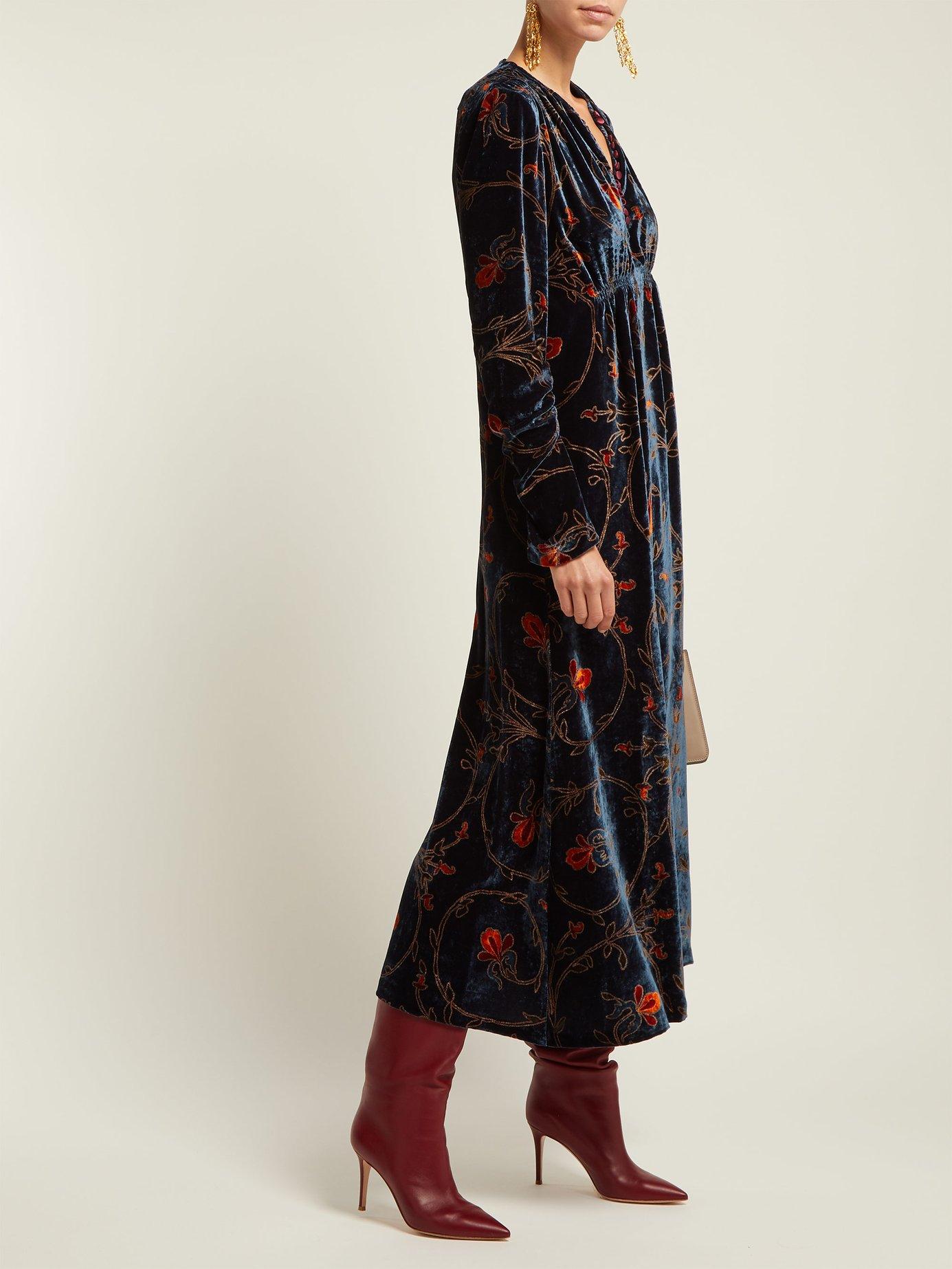 Sunstone floral-print velvet midi dress by Etro