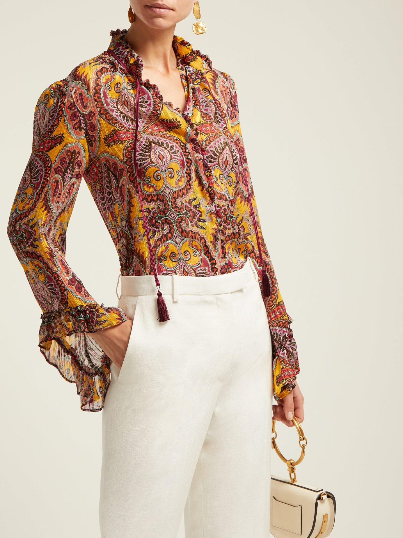 Jasper printed silk-crepe blouse by Etro