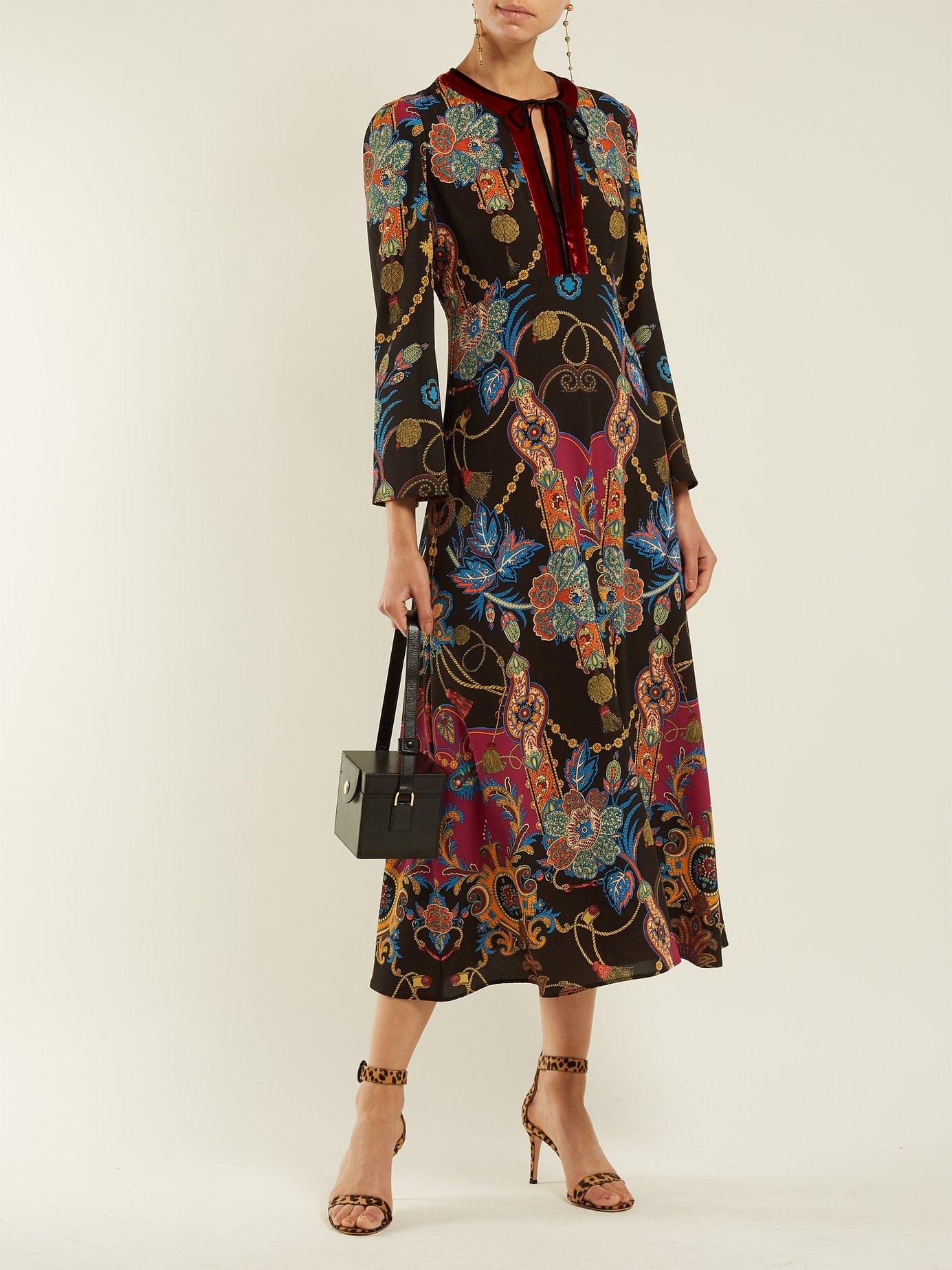 Rosolite paisley-print tie-neck dress by Etro