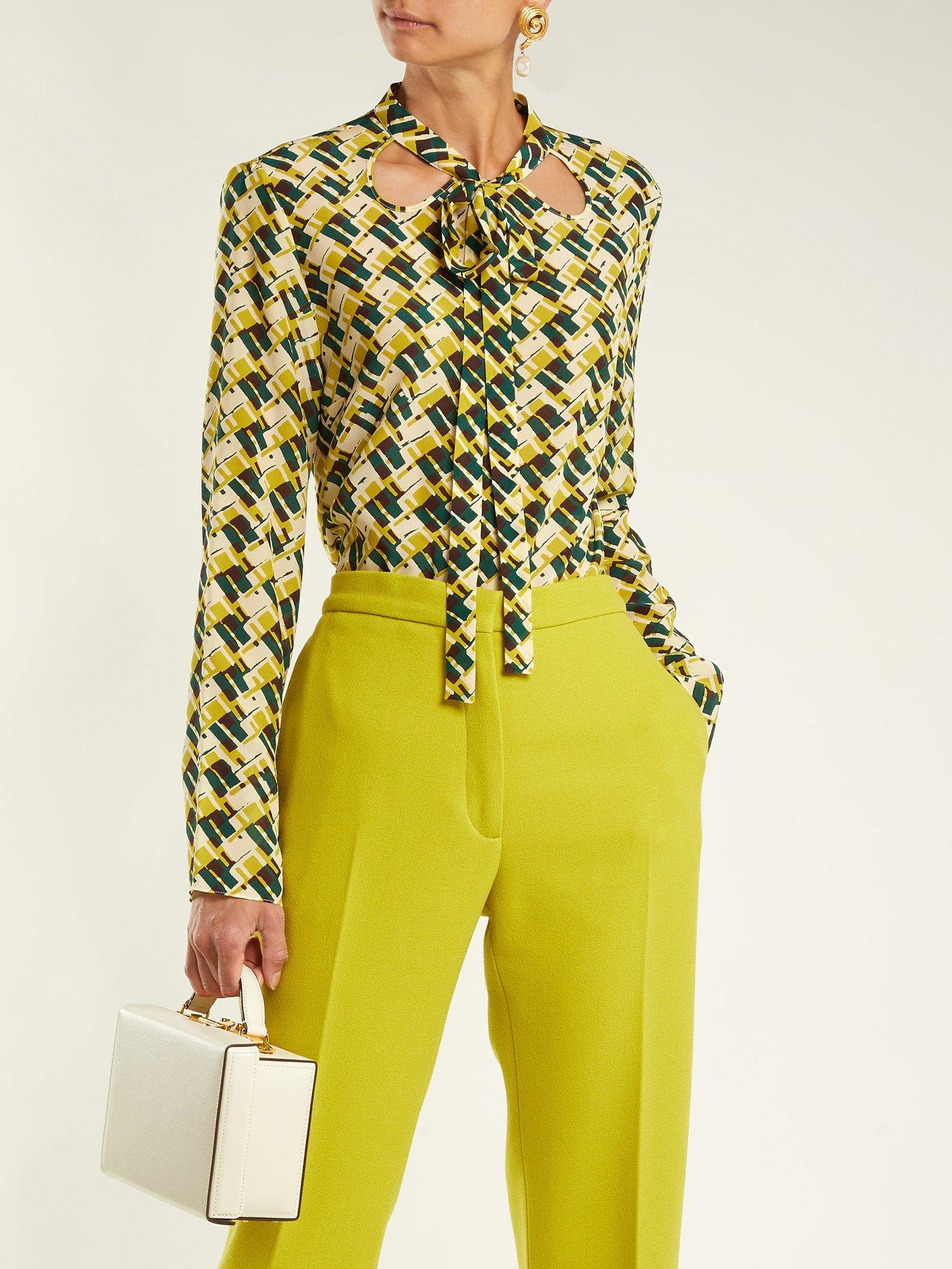 Geometric-print silk pussybow blouse by Rochas