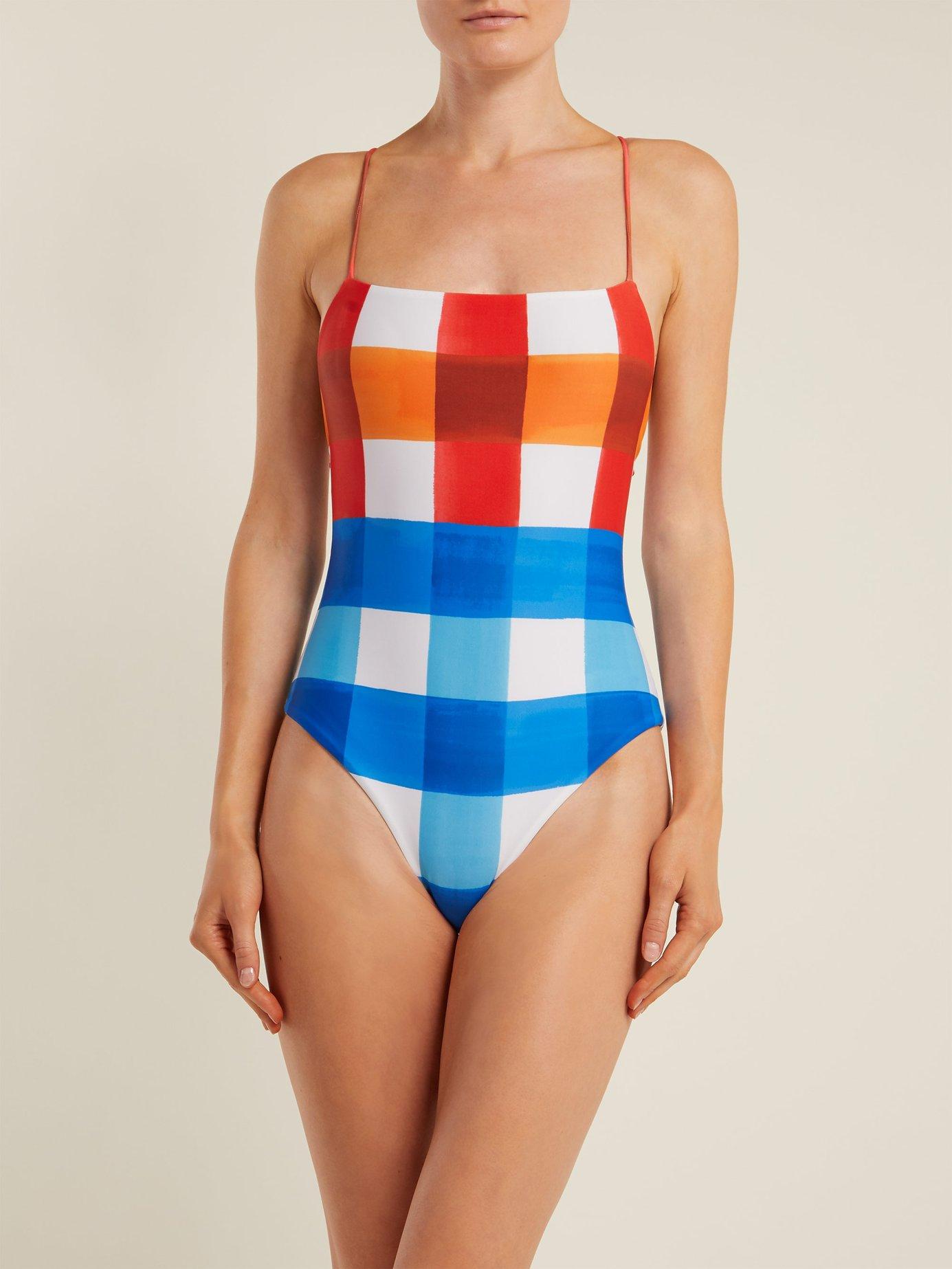 Olympia dejeuner plaid-print swimsuit by Mara Hoffman