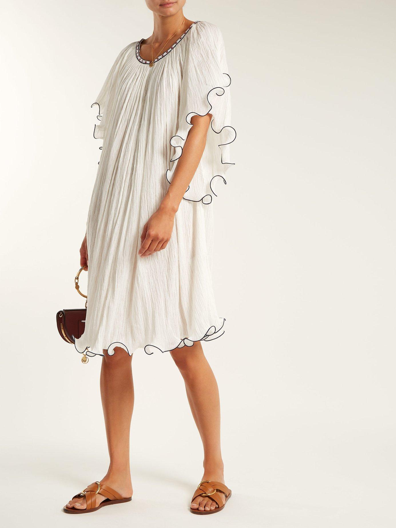 Serena ruffle-edged cotton dress by Talitha