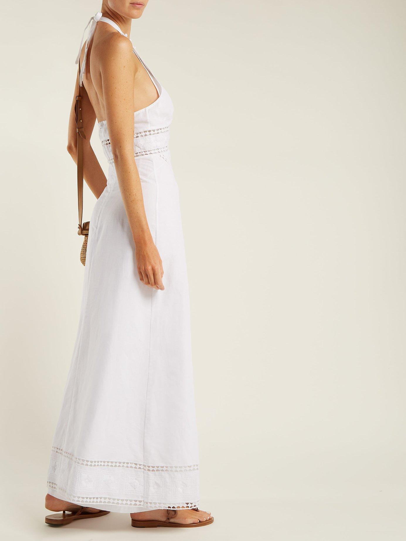 White lace-insert halterneck dress by Talitha