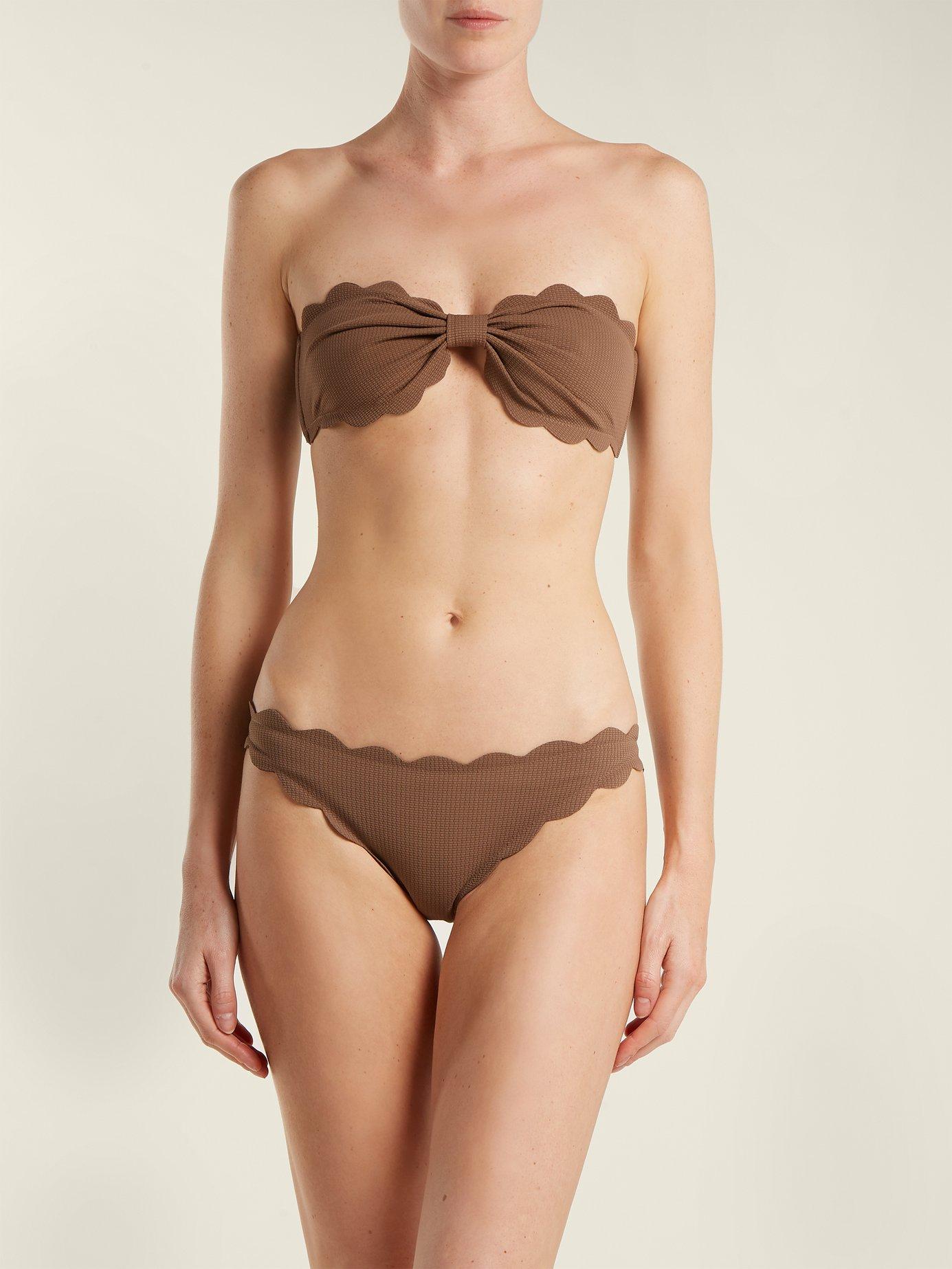 Antibes scallop-edged bandeau bikini top by Marysia Swim