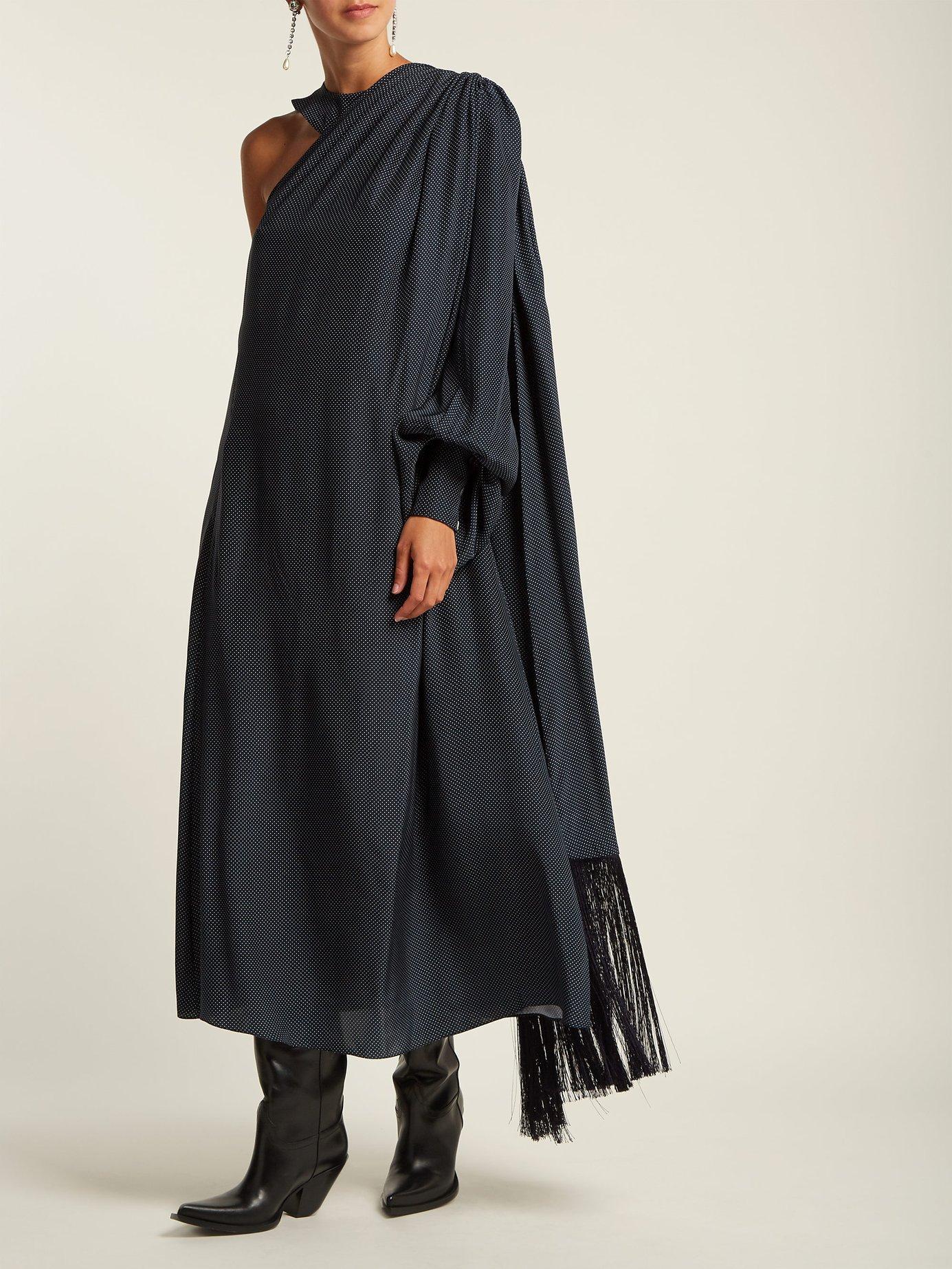 Polka-dot one-shoulder silk dress by Hillier Bartley