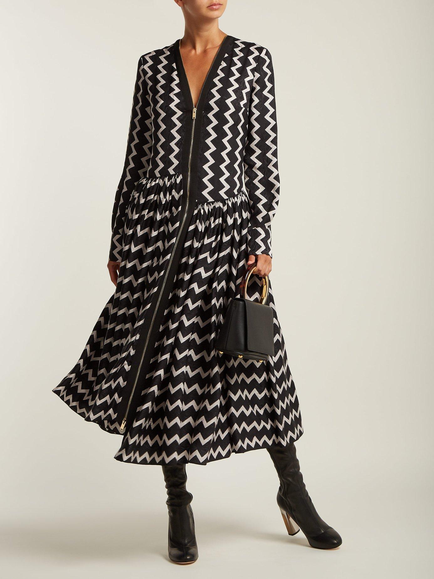 Zig-zag long-sleeved maxi dress by Stella Mccartney