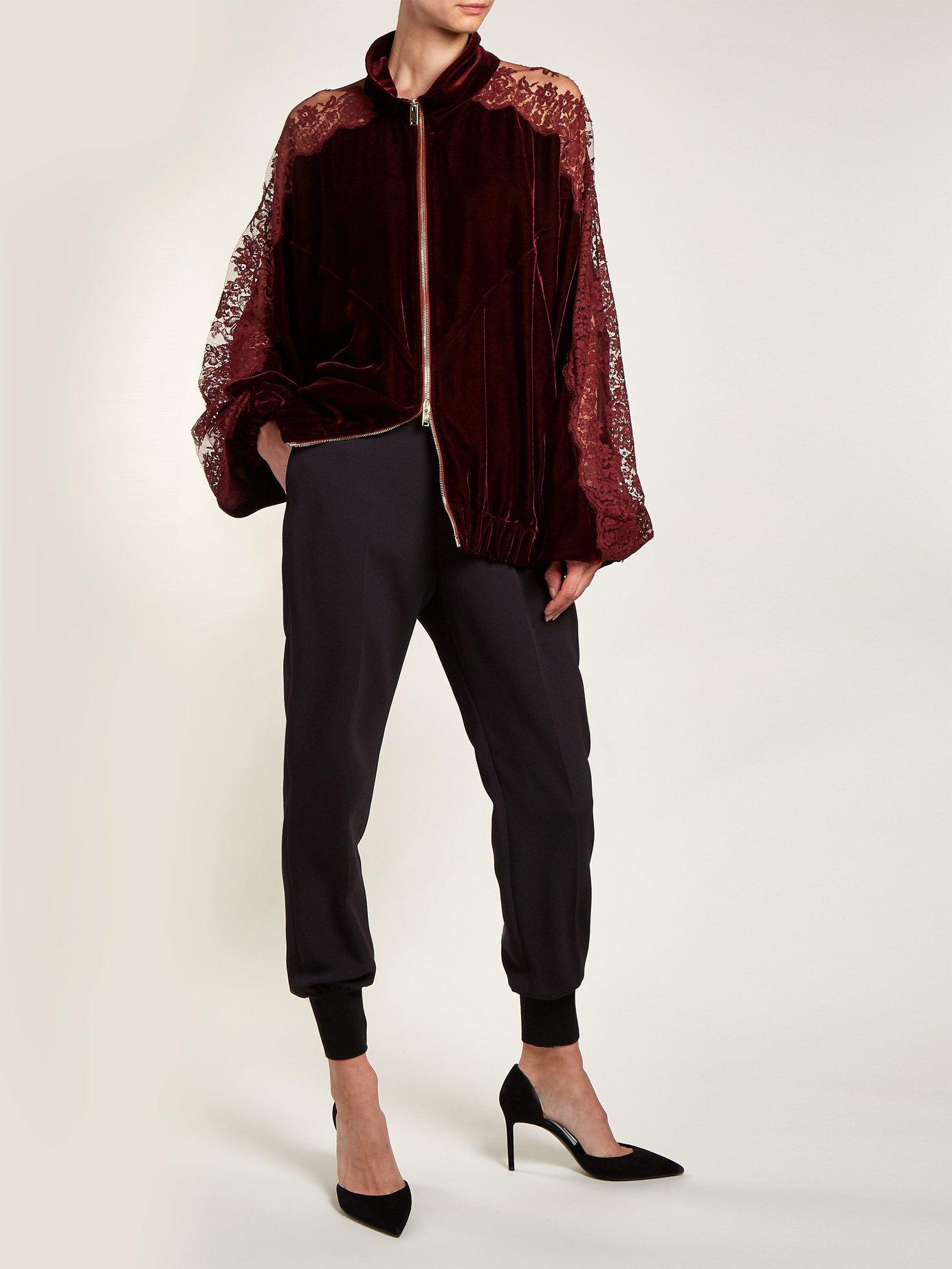 Lace insert stripe-trimmed zip-up sweatshirt by Stella Mccartney
