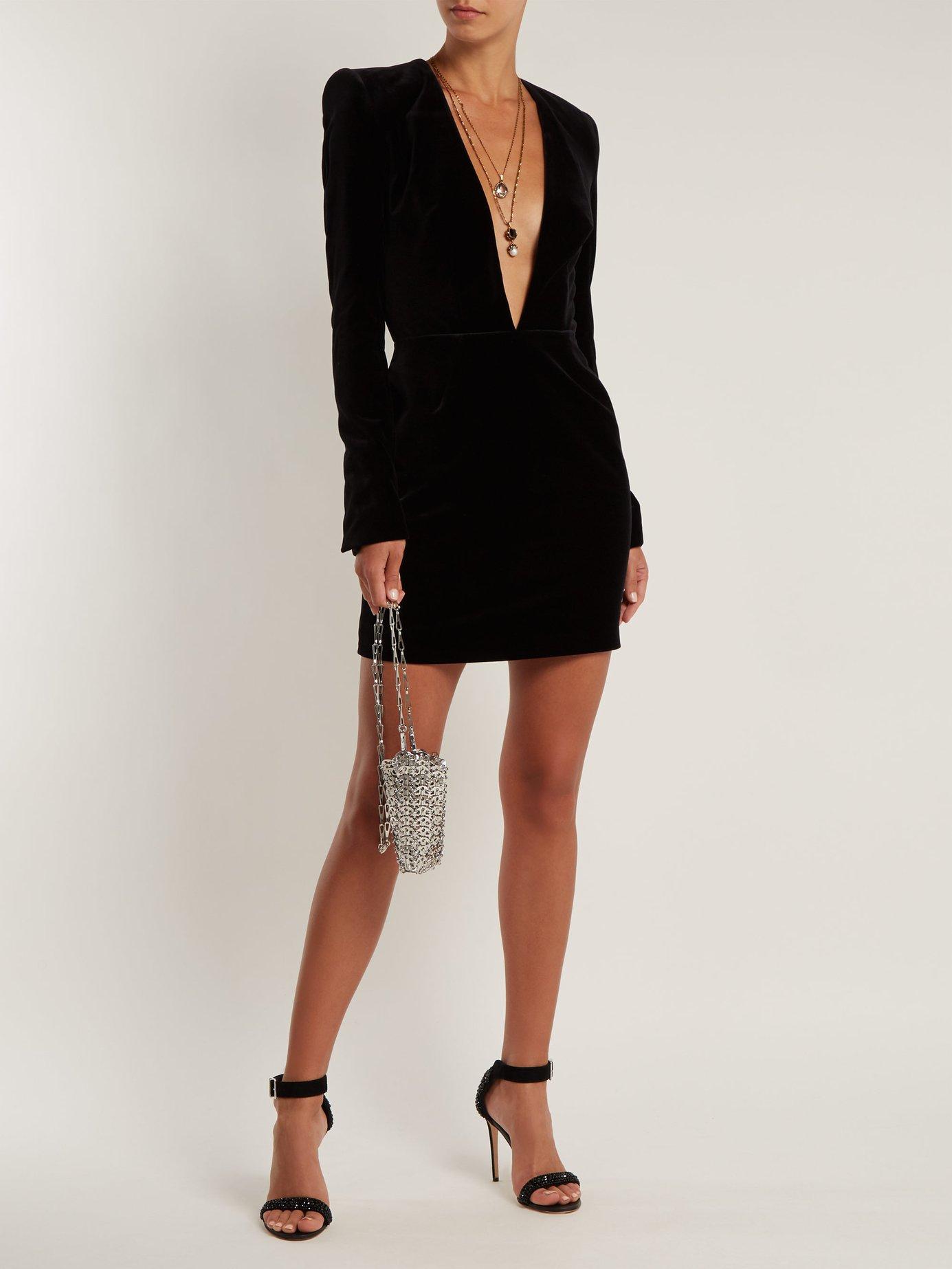 V-neck velvet mini dress by Alexandre Vauthier