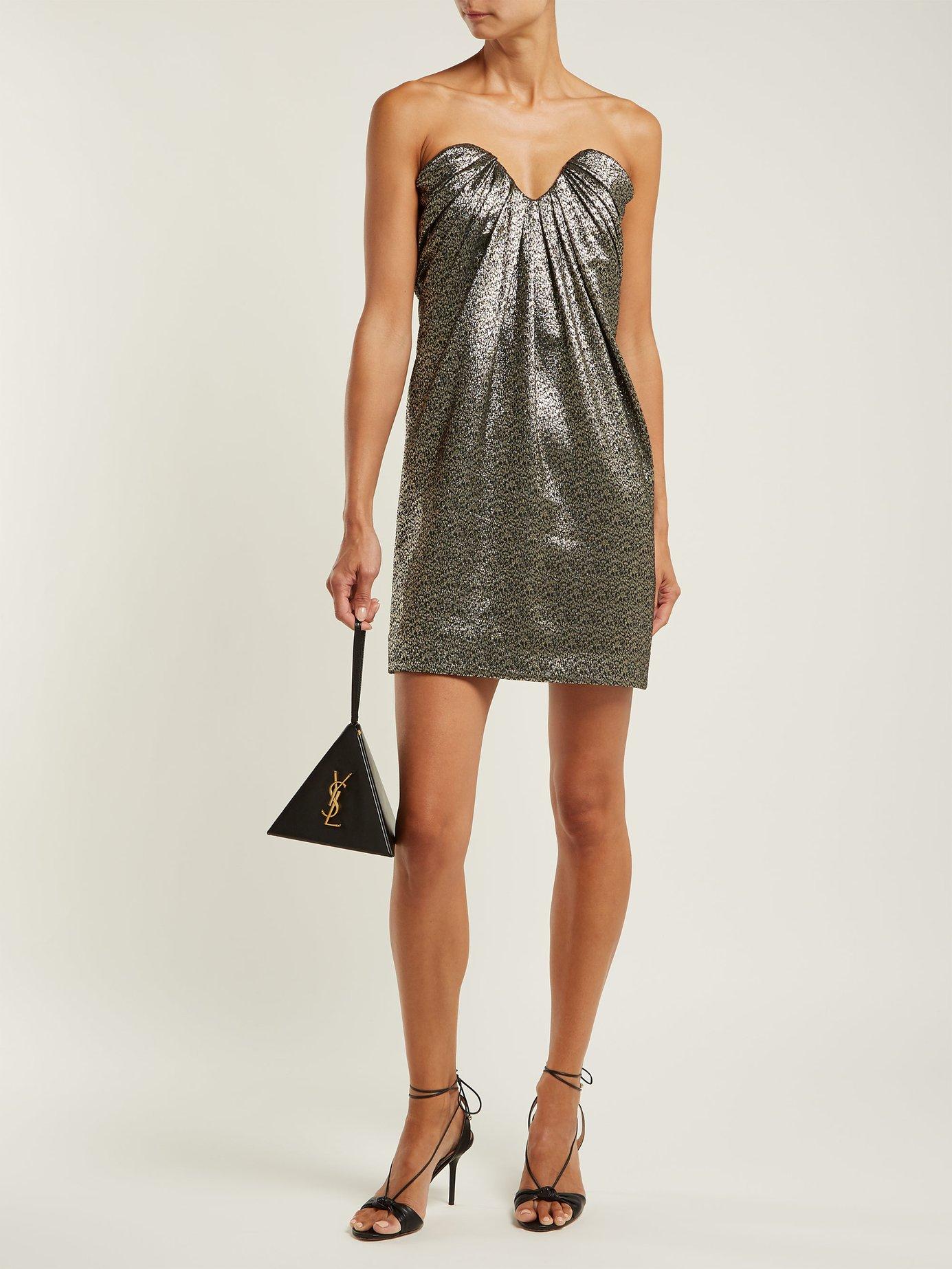 Strapless metallic jacquard mini dress by Saint Laurent