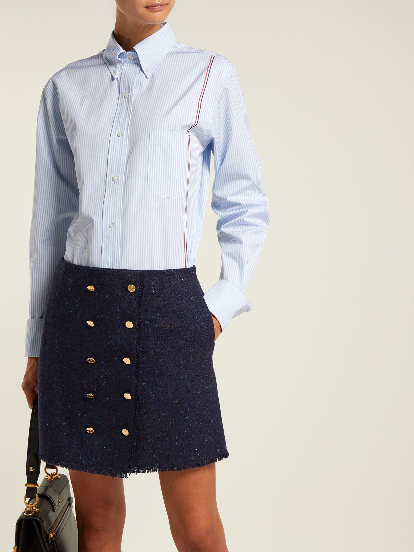 Button-down striped cotton-poplin shirt by Thom Browne