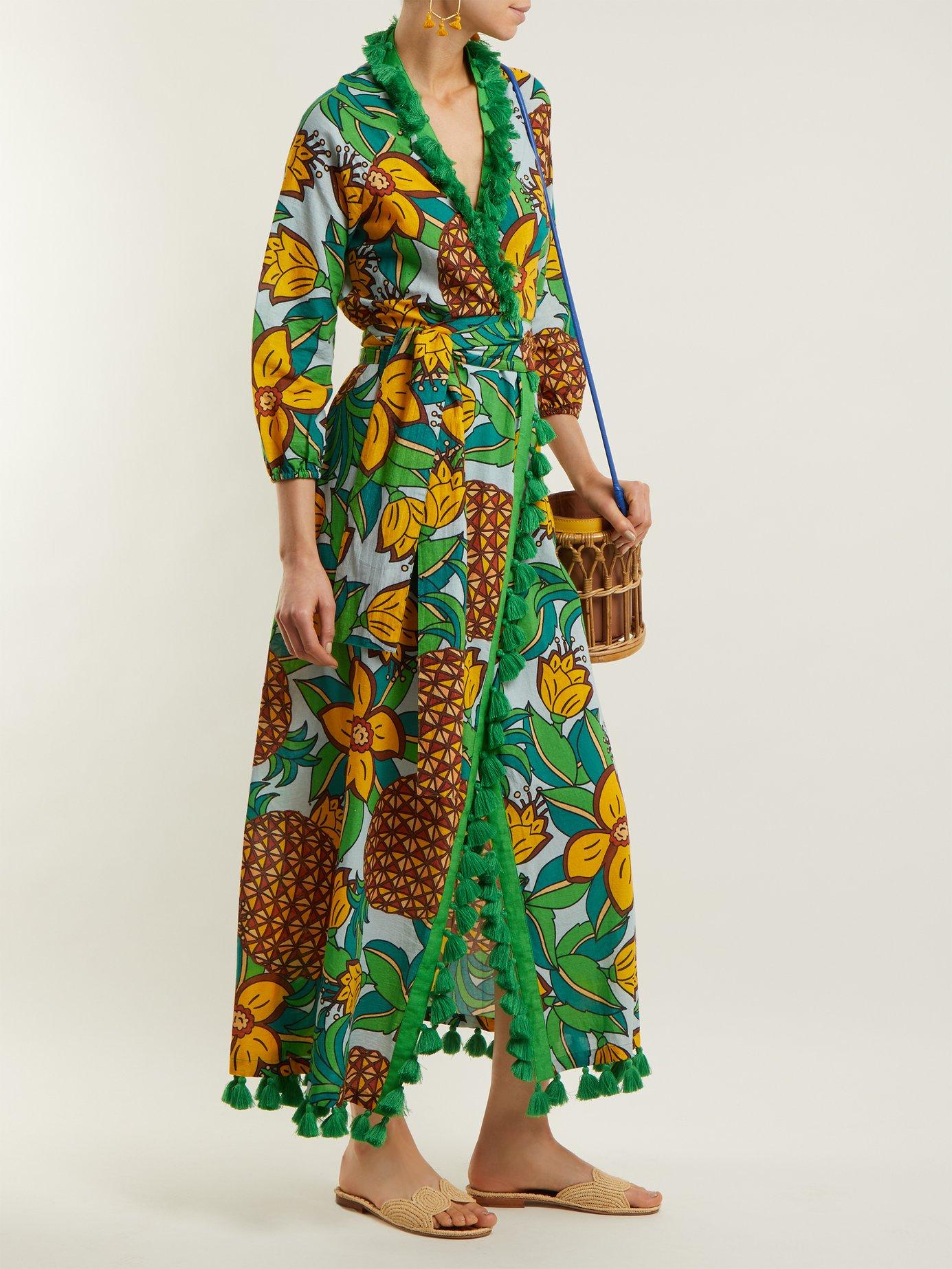 Lena pineapple-print cotton midi dress by Rhode Resort