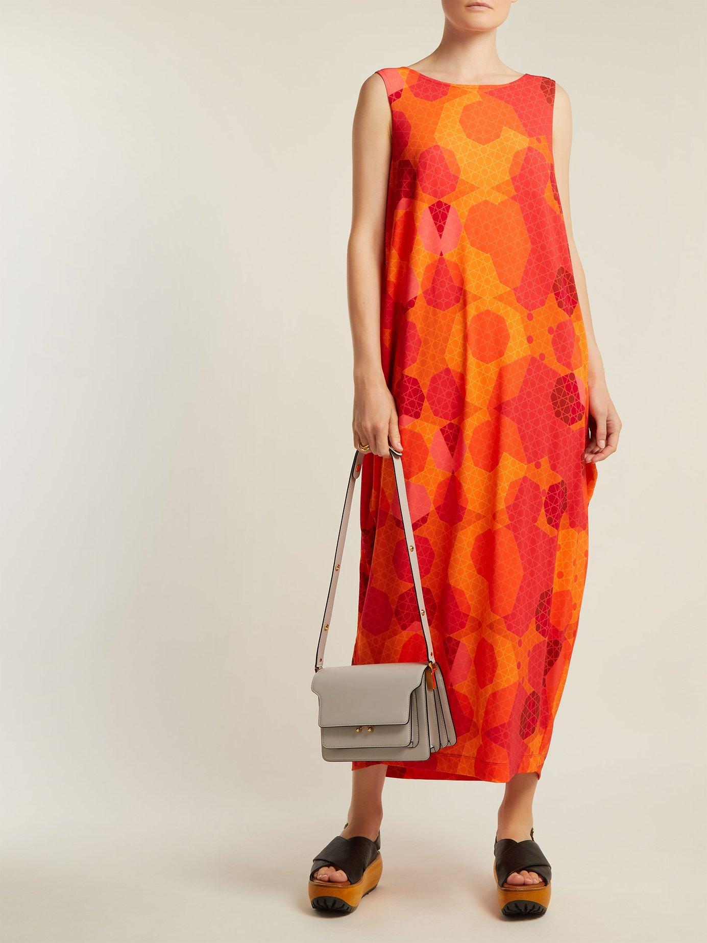 Sunlight geometric-print dress by Issey Miyake