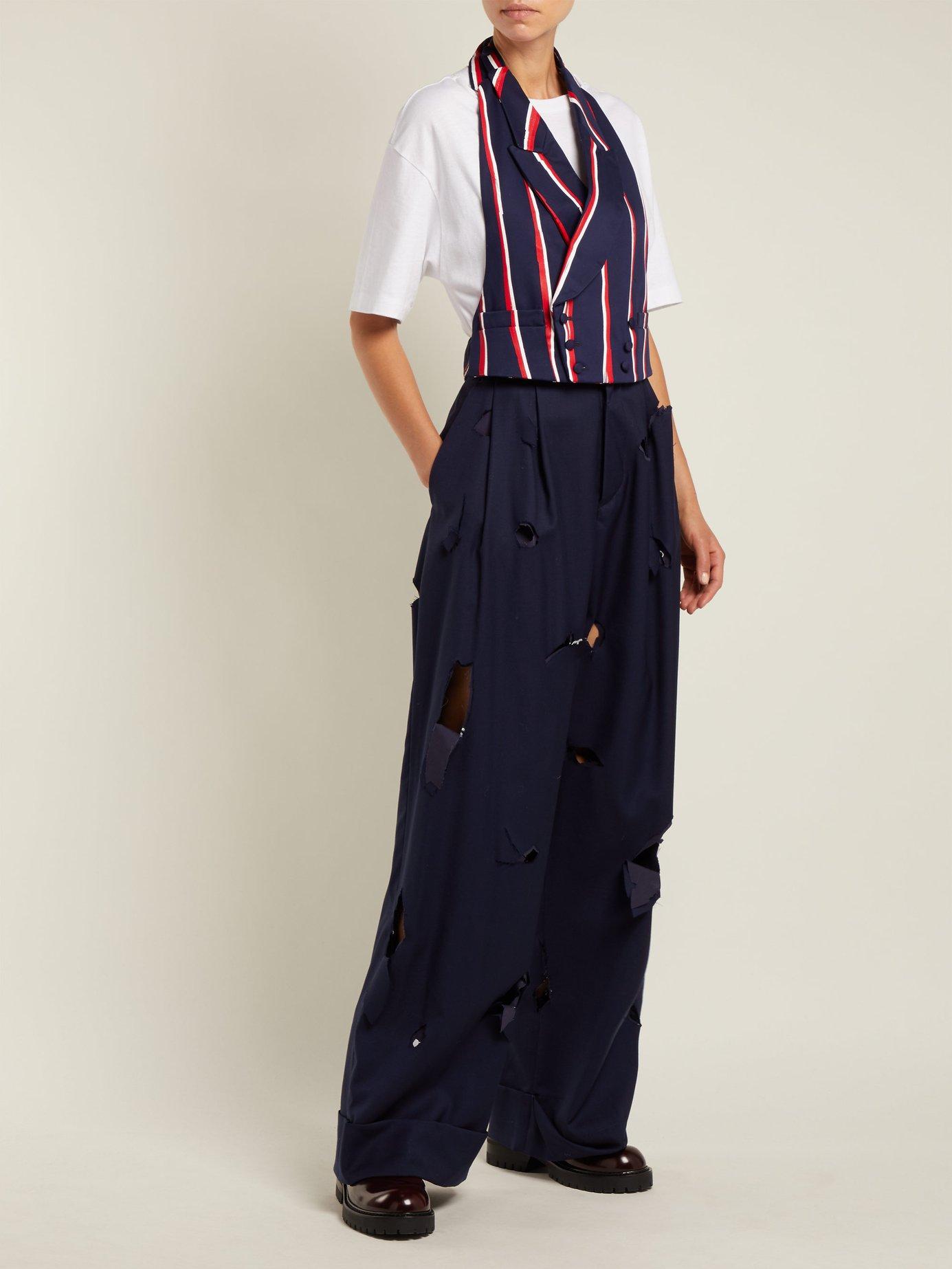 Striped halterneck cotton-twill waistcoat by Charles Jeffrey Loverboy
