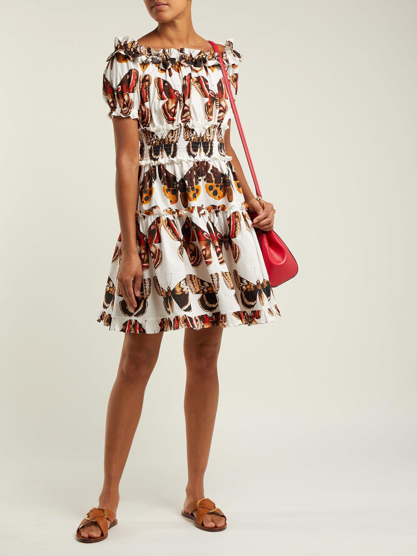 Butterfly-print cotton poplin mini dress by Dolce & Gabbana