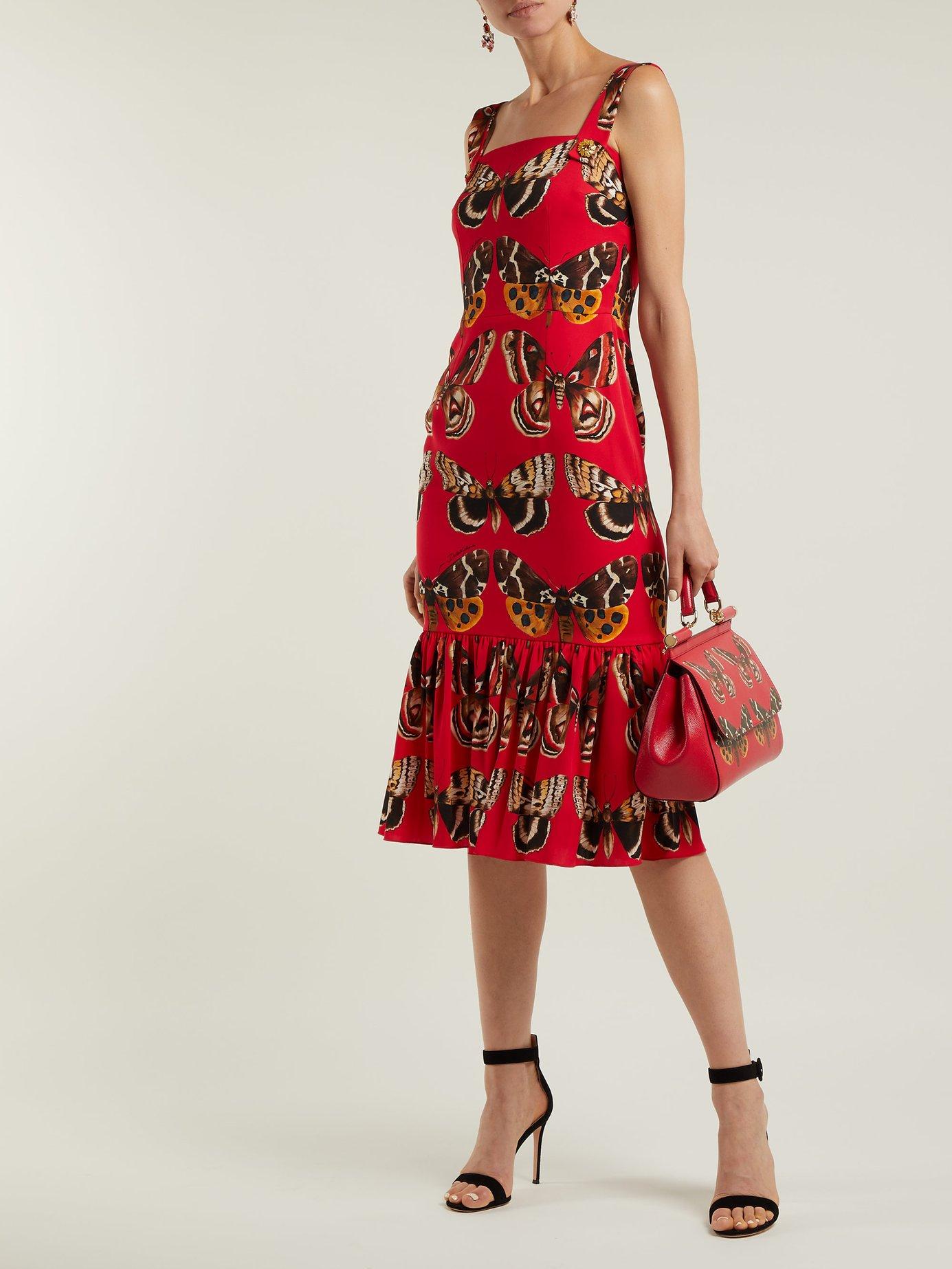 Butterfly-print silk-blend midi dress by Dolce & Gabbana