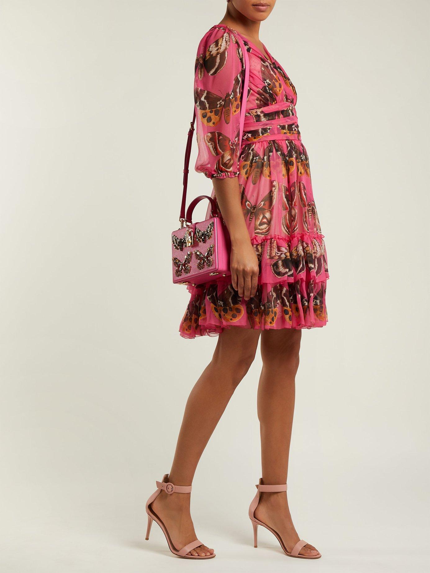 Butterfly-print silk-chiffon mini dress by Dolce & Gabbana