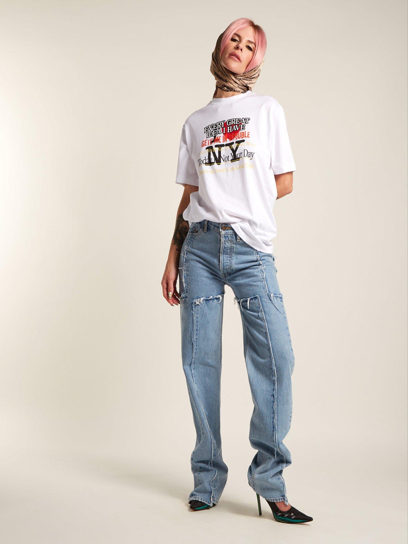 New York-print cotton T-shirt by Vetements