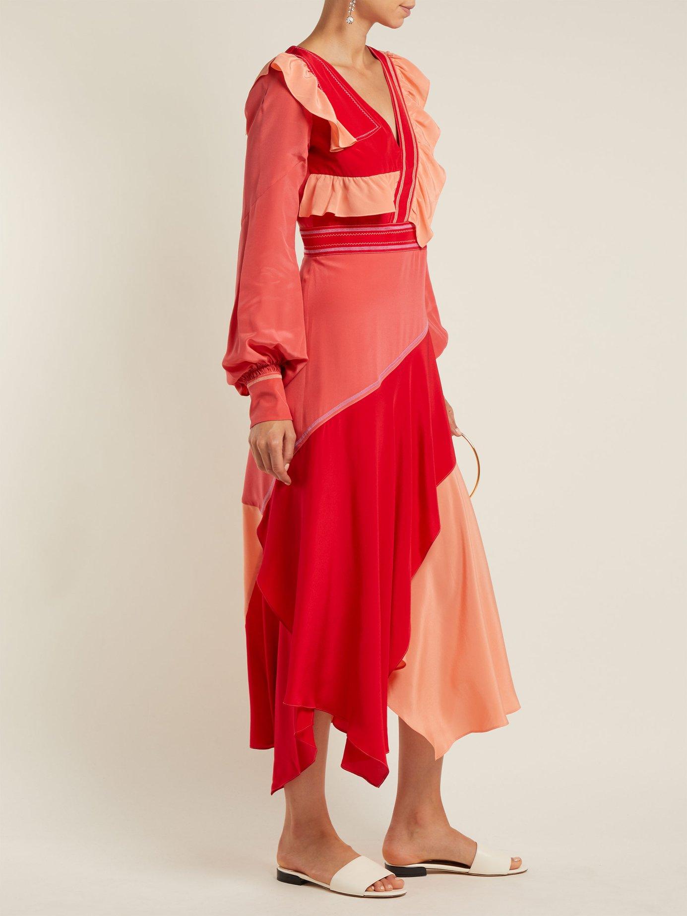 Contrast-panel ruffled silk dress by Peter Pilotto