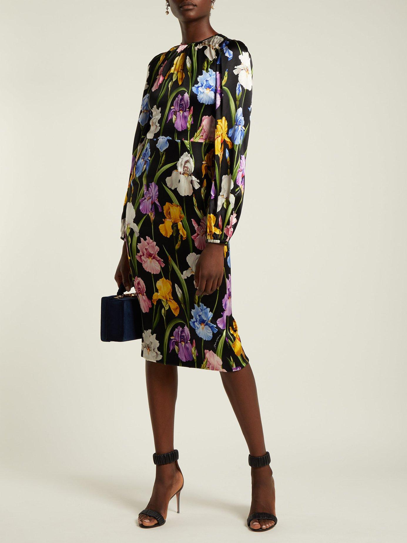 Iris-print midi dress by Dolce & Gabbana