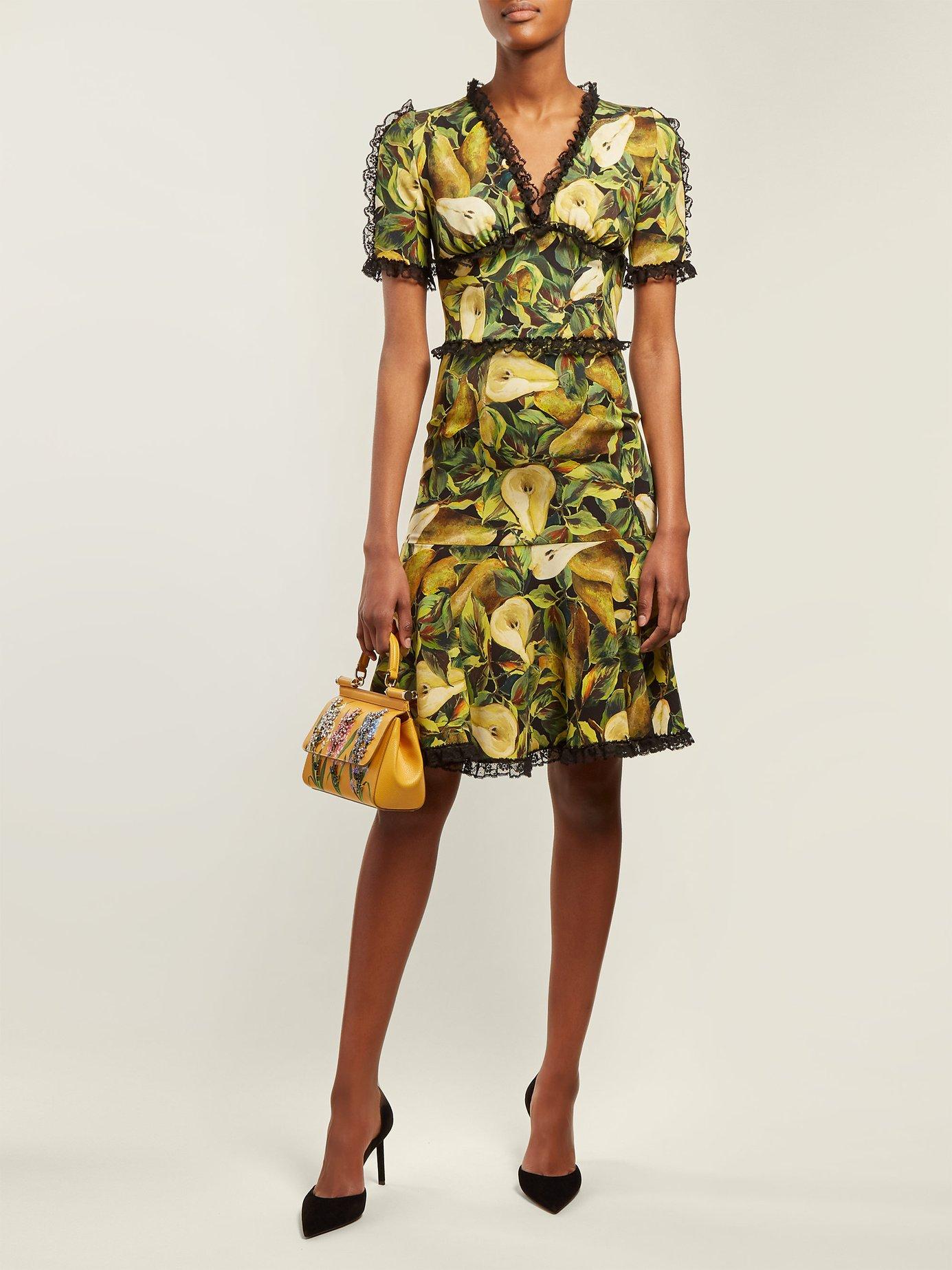Pear-print midi dress by Dolce & Gabbana