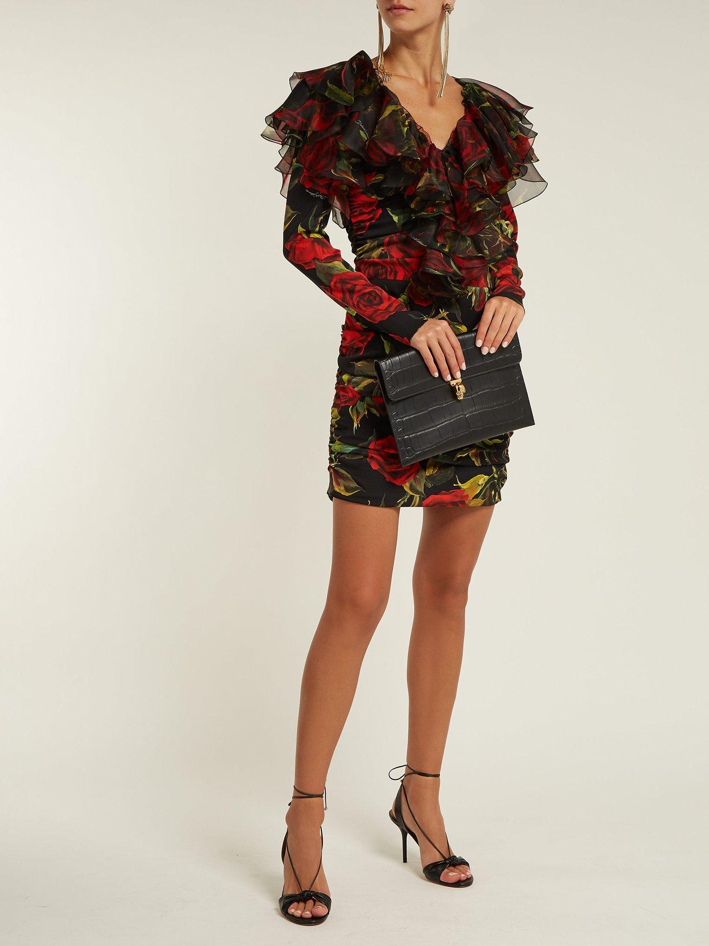 Roses-print ruched mini dress by Dolce & Gabbana