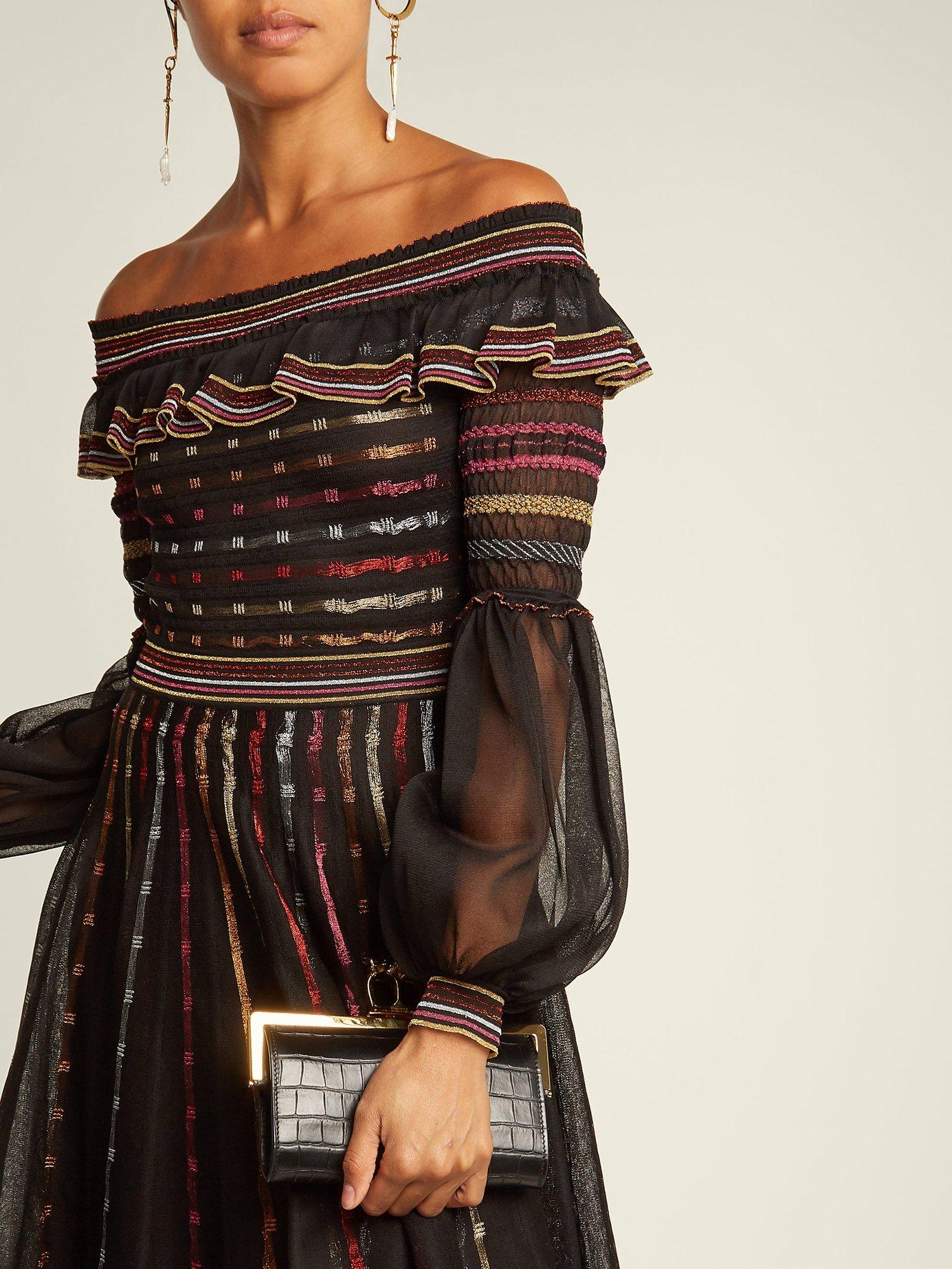 Off-the-shoulder silk-blend dress by Alexander Mcqueen