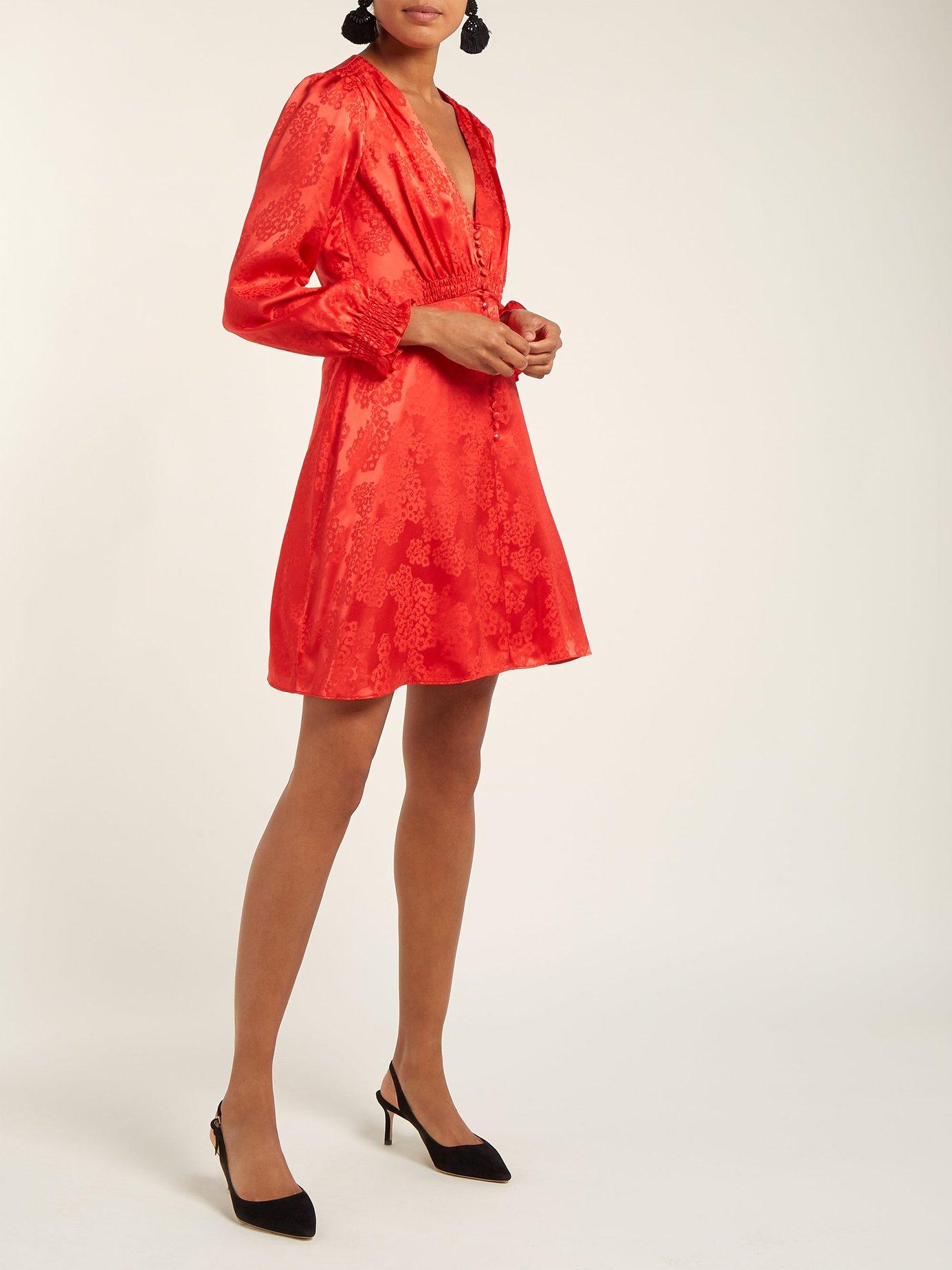 Eve floral-jacquard silk dress by Saloni