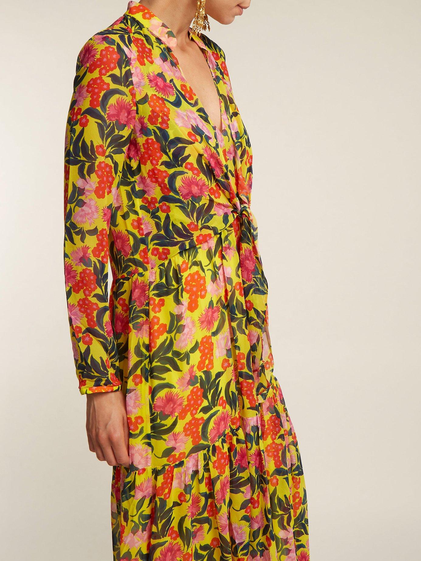 Alexia floral-print tie-front silk dress by Saloni