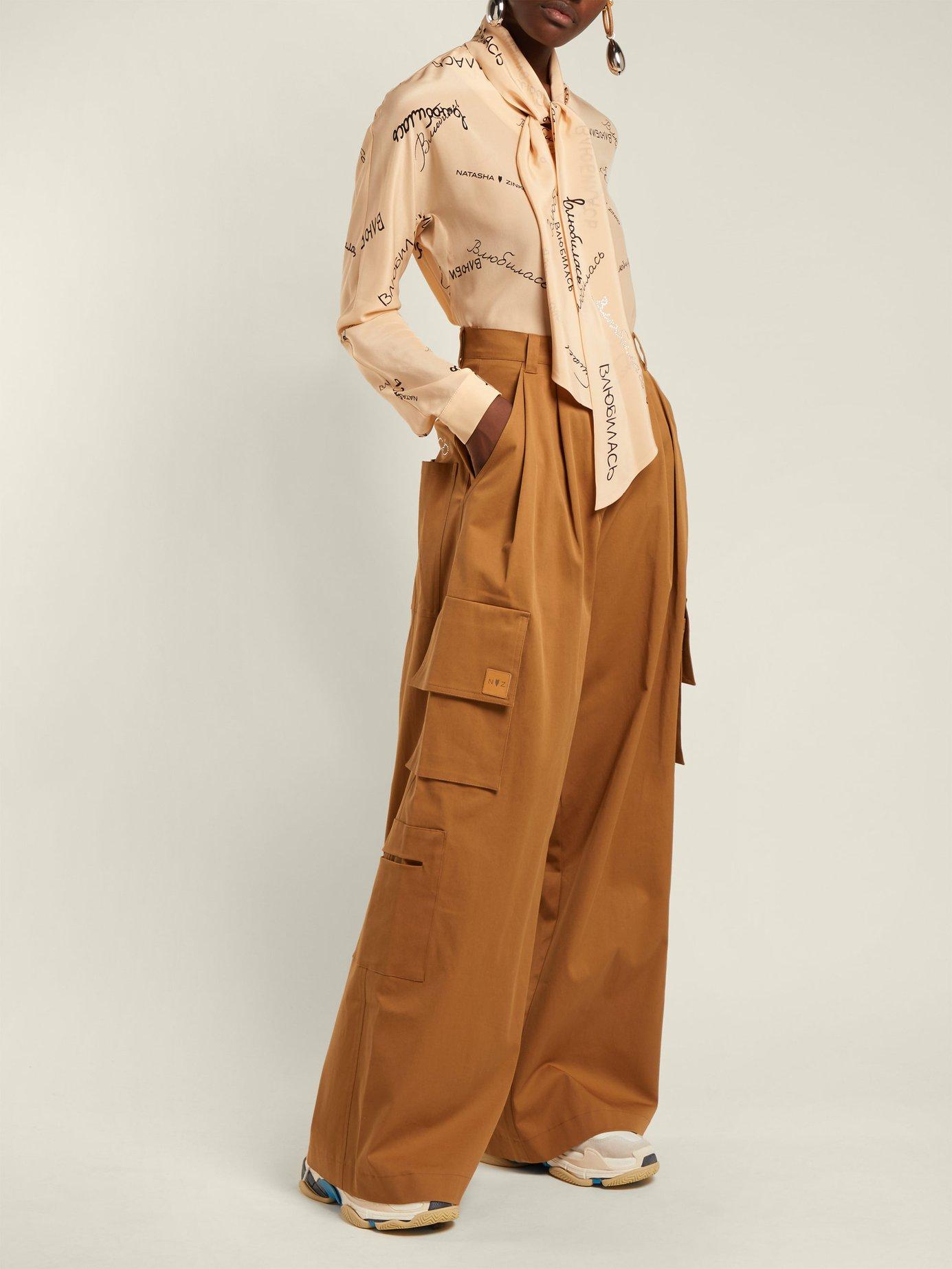Pussy-bow silk-georgette blouse by Natasha Zinko