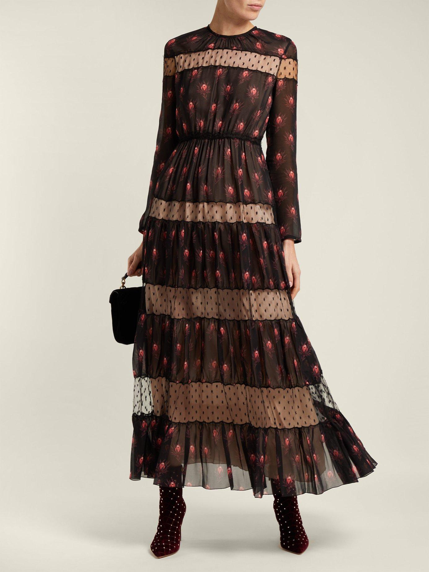 Rosebud-print silk-chiffon dress by Giambattista Valli