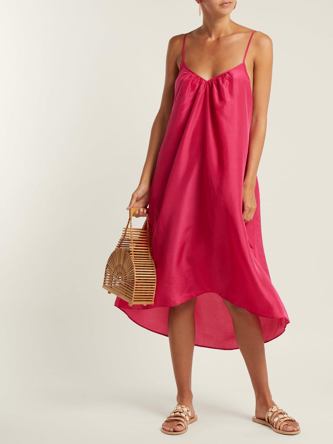 Cross-back silk-satin slip dress by Loup Charmant