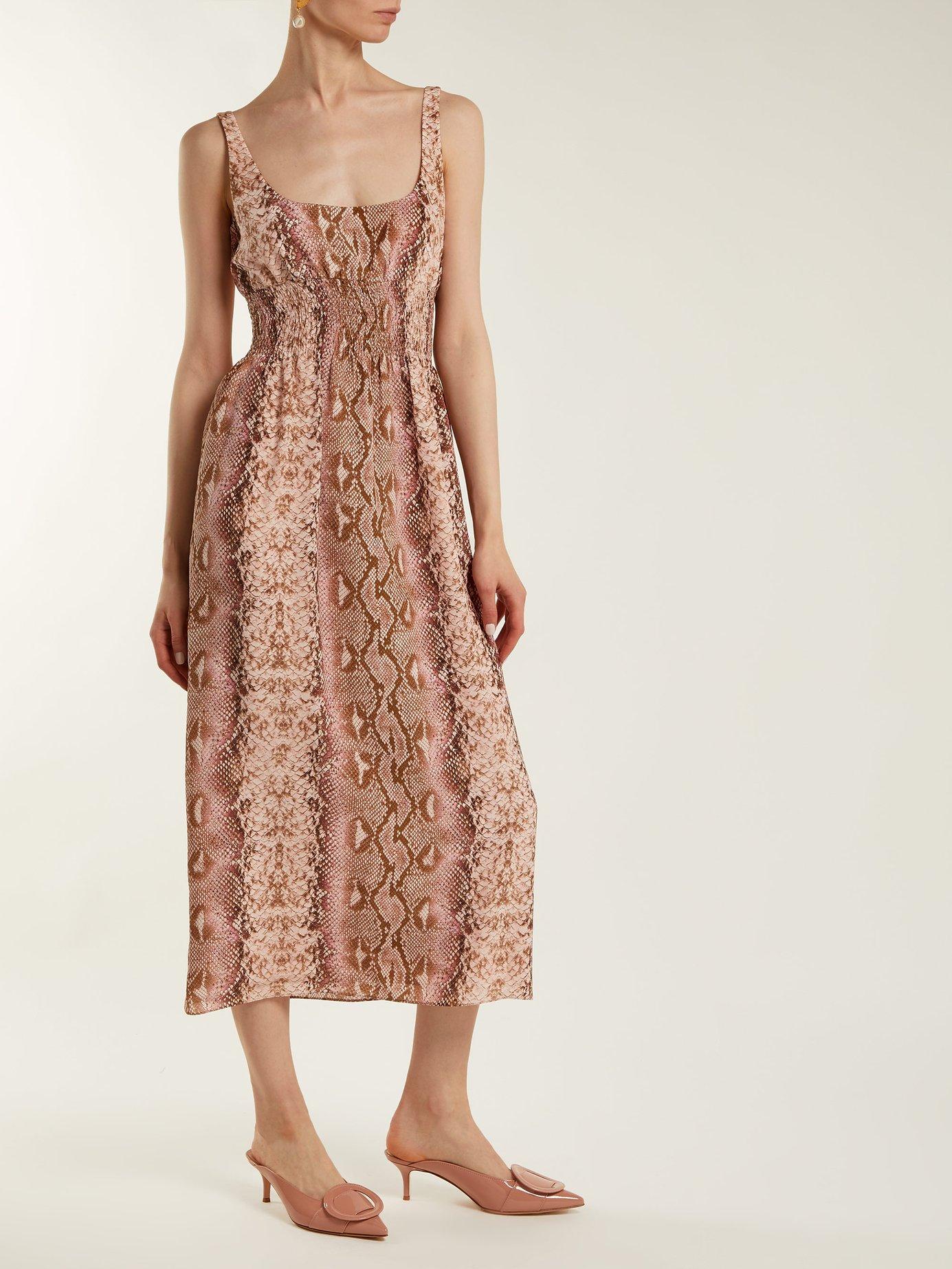 Giovanna python-print silk dress by Emilia Wickstead