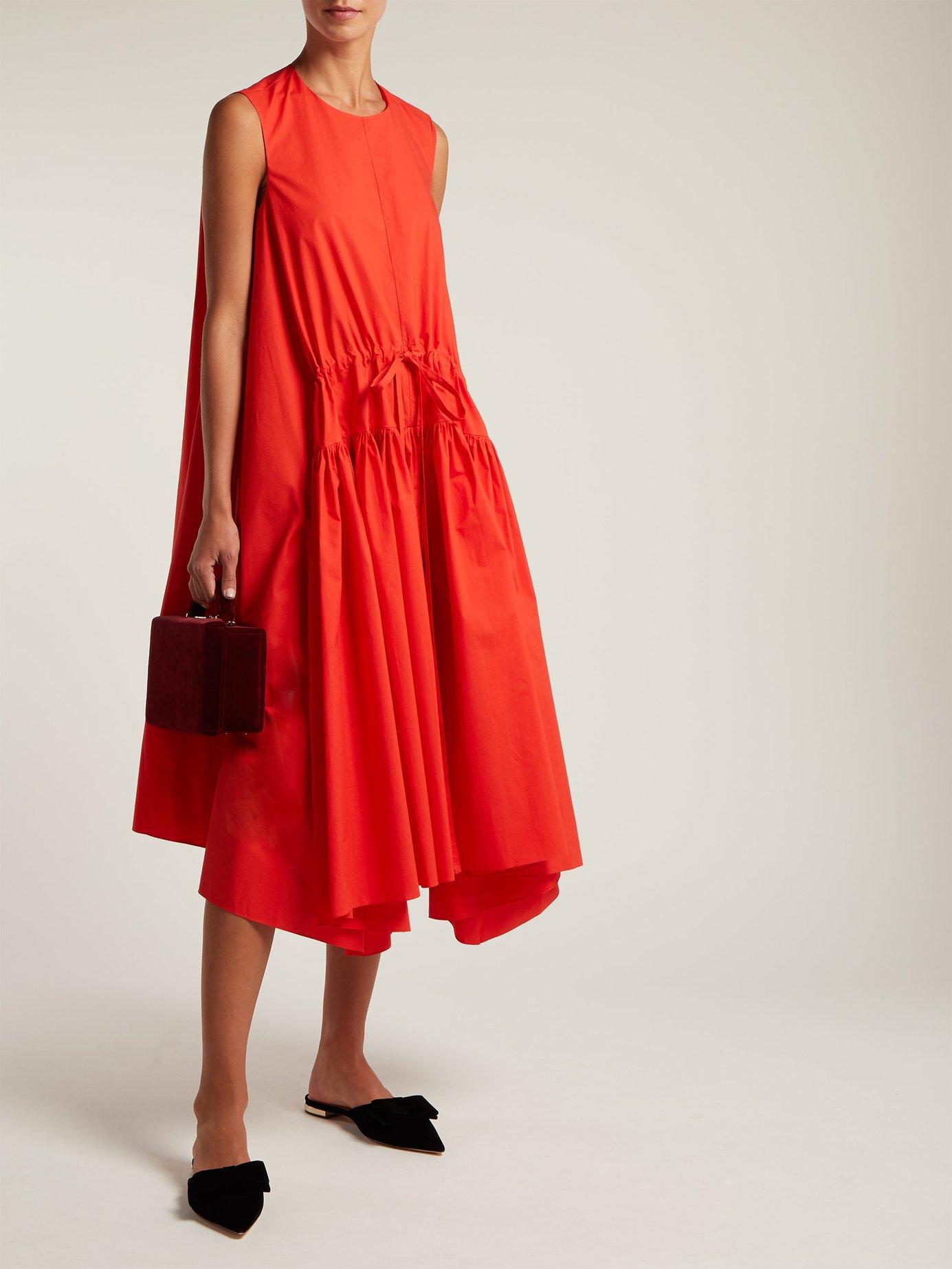 Asymmetric cotton-poplin midi dress by Delpozo