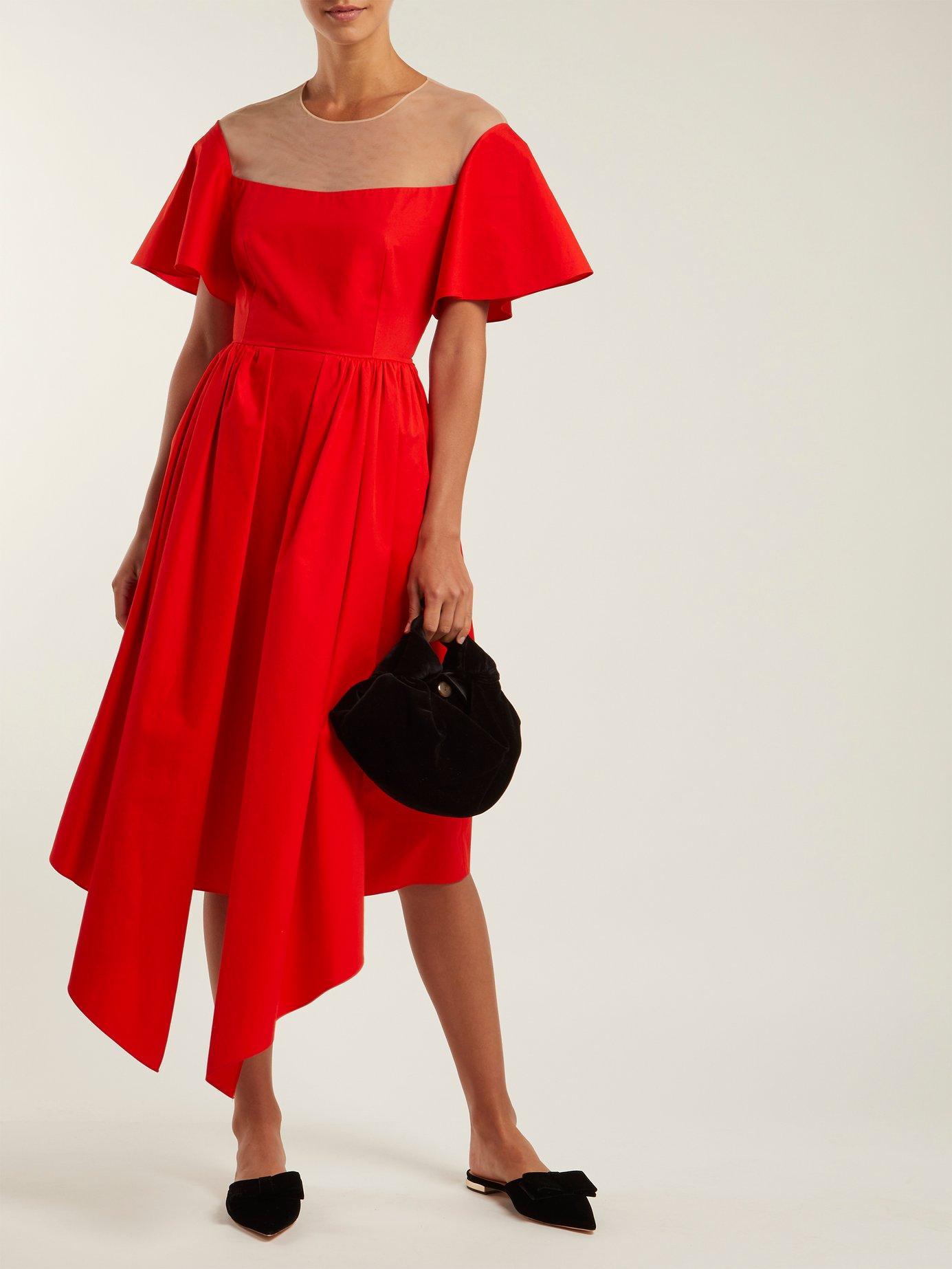 Tulle-panel asymmetric midi dress by Delpozo