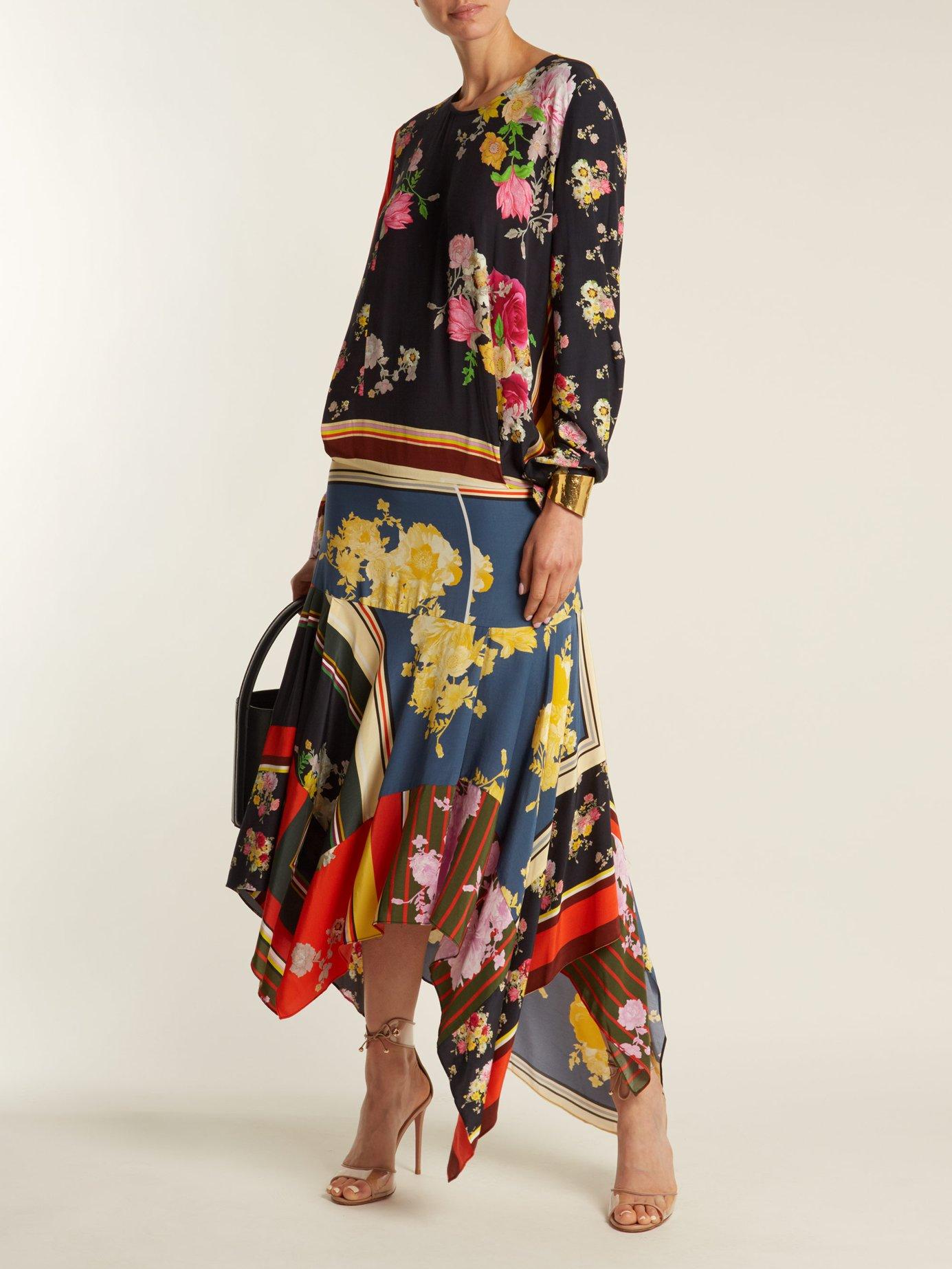 Kaia floral-print crepe de Chine dress by Preen Line