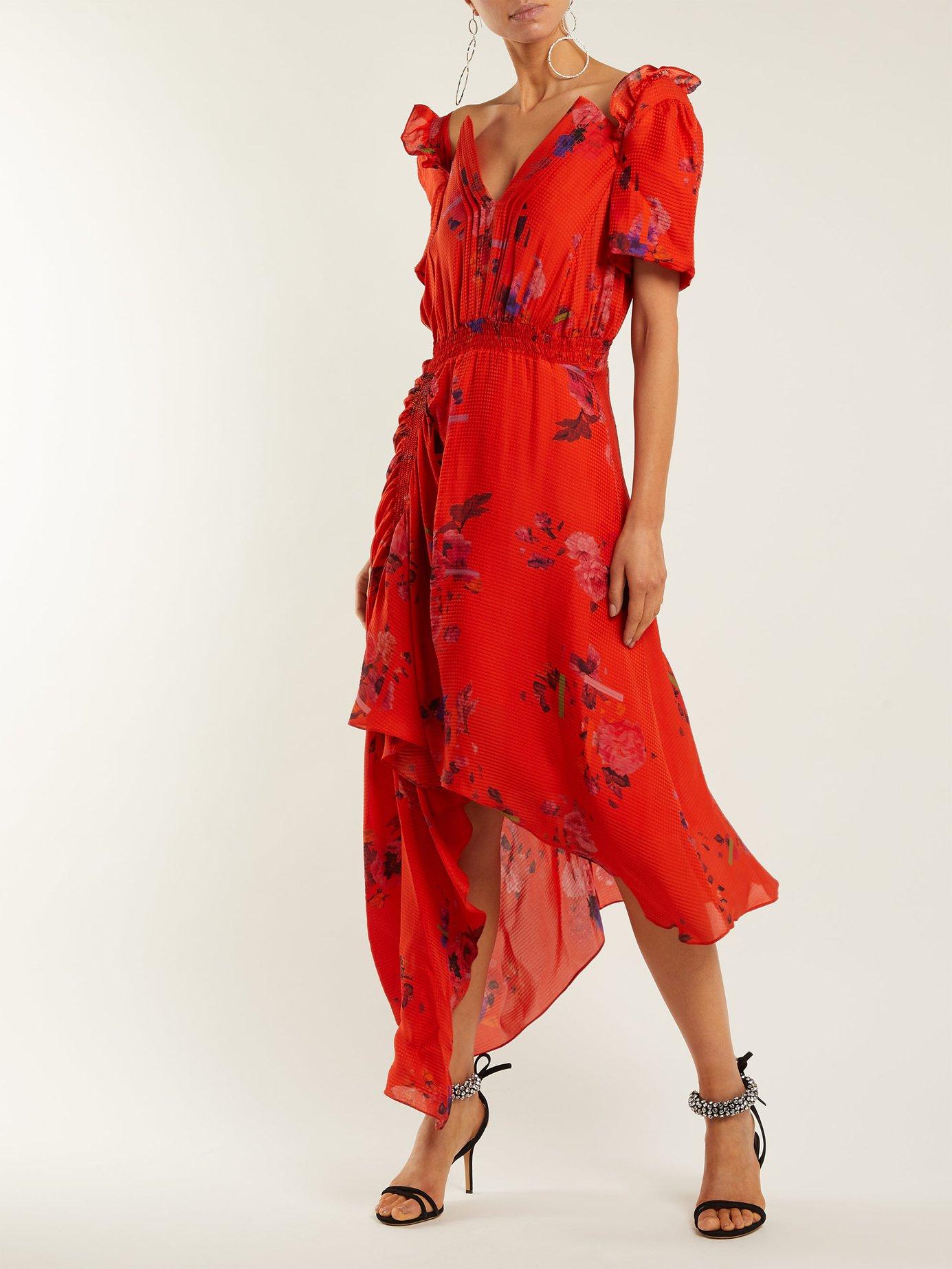 Dana floral-print silk-jacquard dress by Preen By Thornton Bregazzi