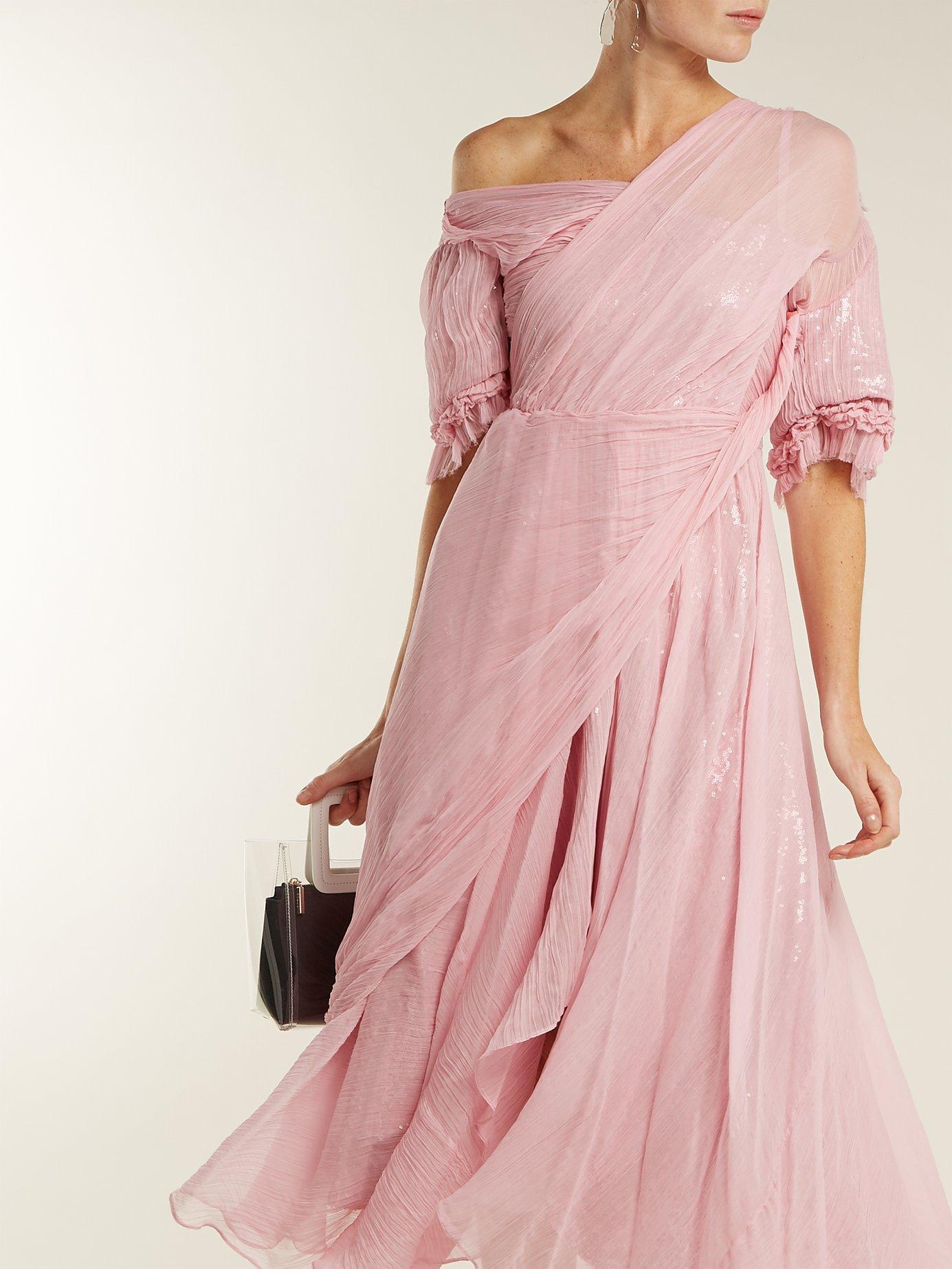 Moira asymmetric silk-chiffon dress by Preen By Thornton Bregazzi