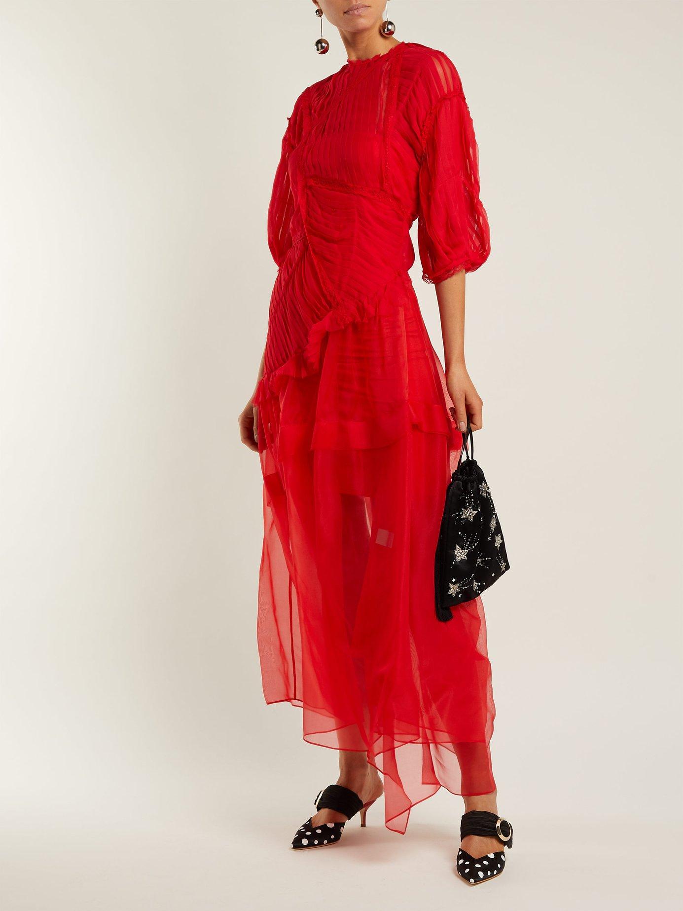 Risse pleated-panel silk dress by Preen By Thornton Bregazzi