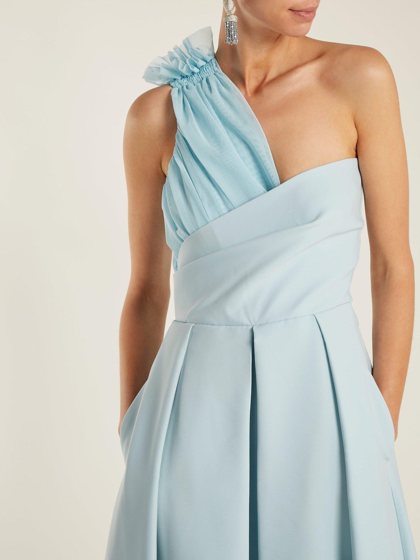 Ted asymmetric-bodice cady midi dress by Preen By Thornton Bregazzi