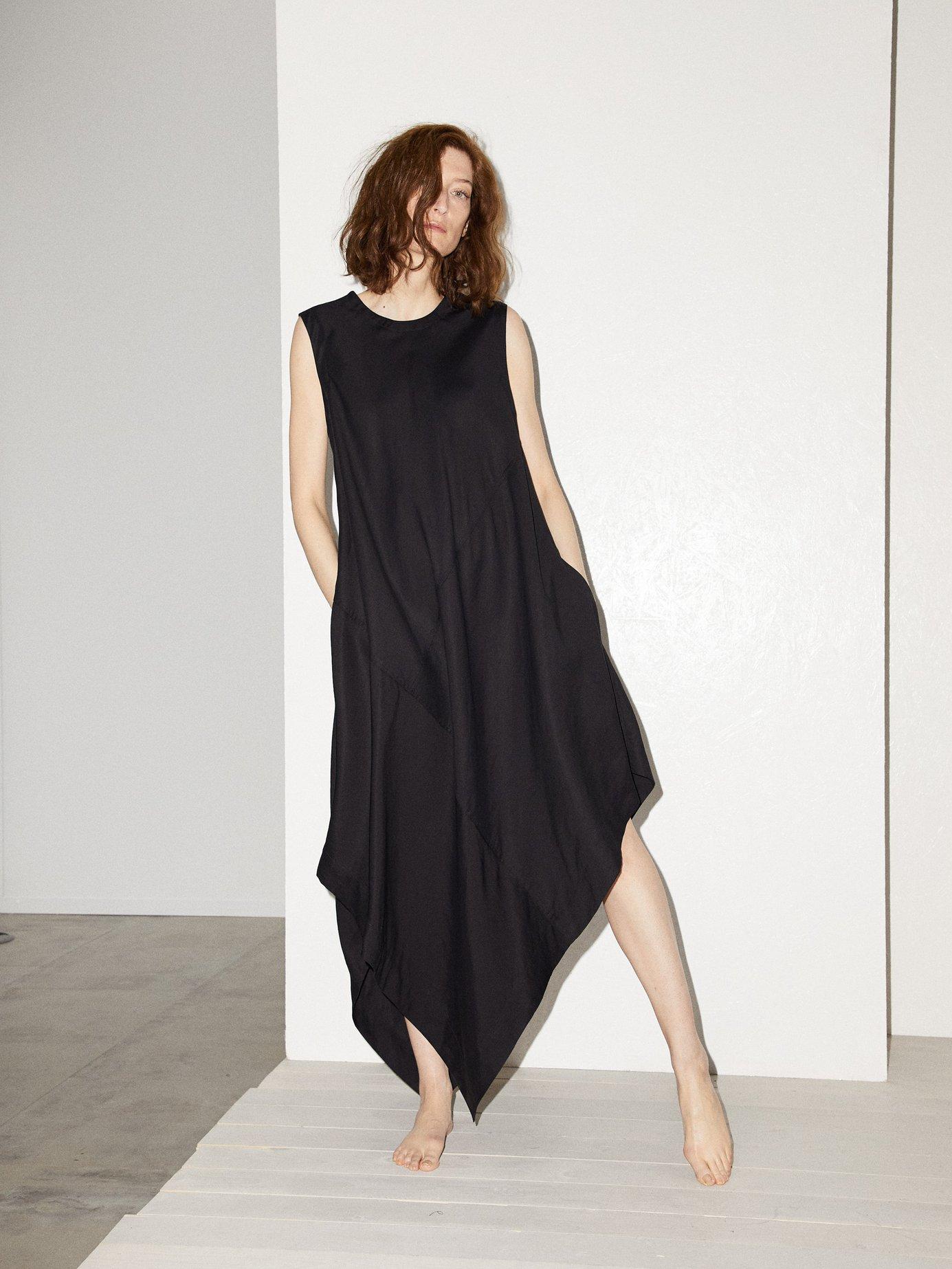 Asymmetric-hem maxi dress by Raey