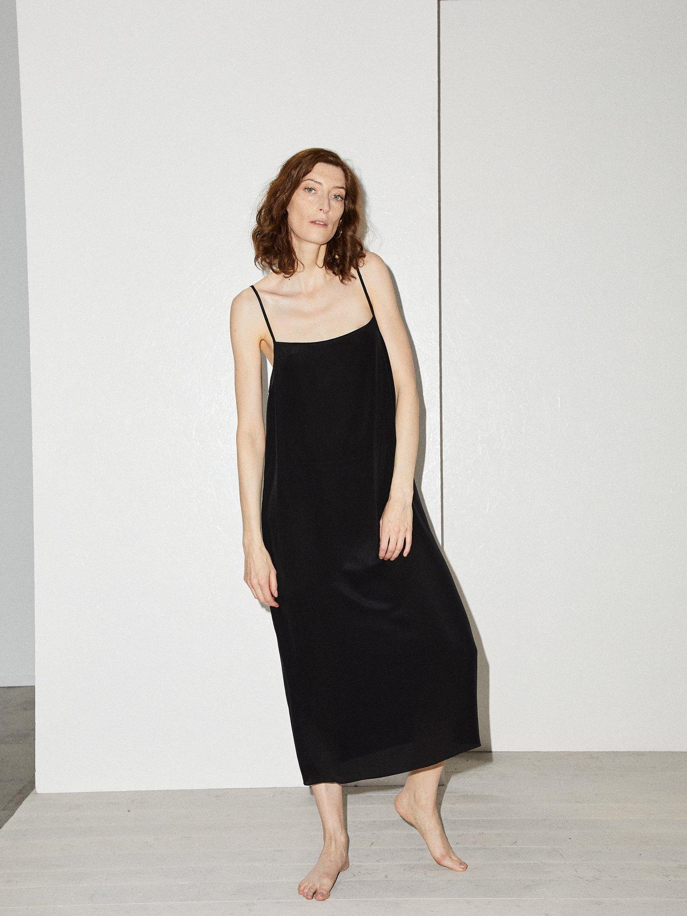 Easy silk slip dress by Raey