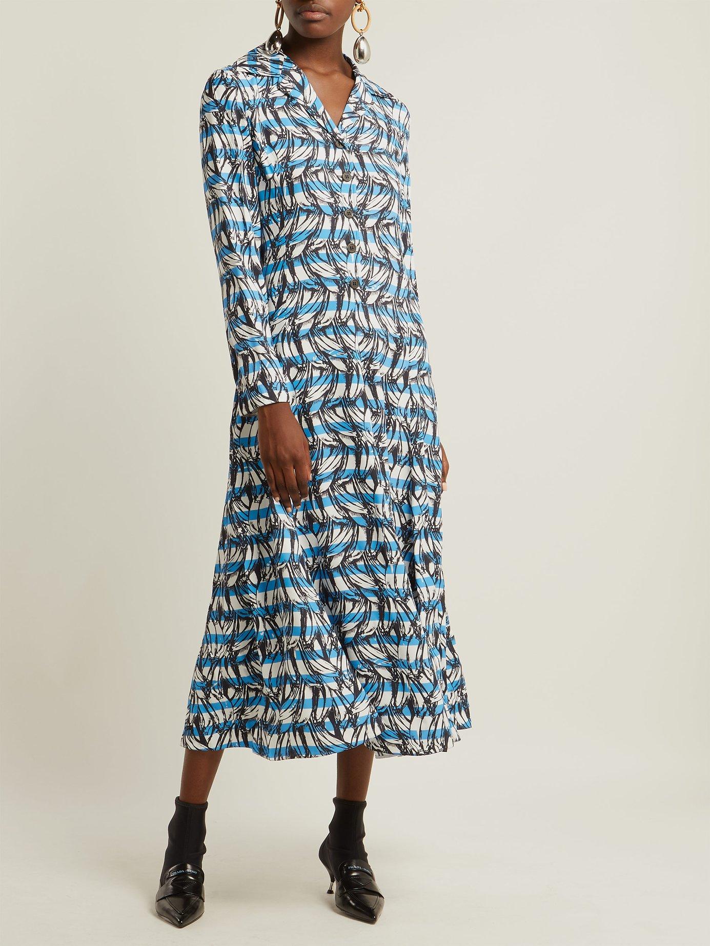 Banana-print striped shirt dress by Prada