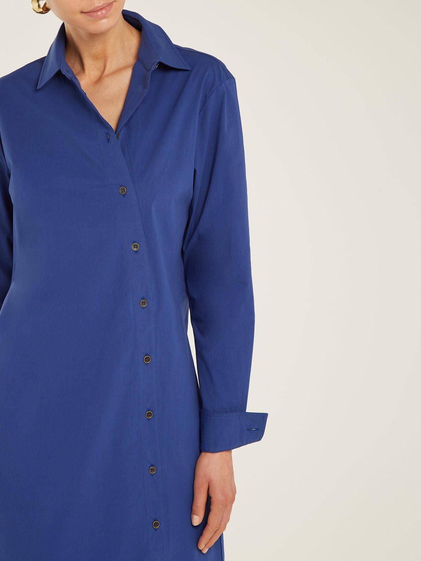 Cotton-poplin asymmetric-button dress by Tomas Maier