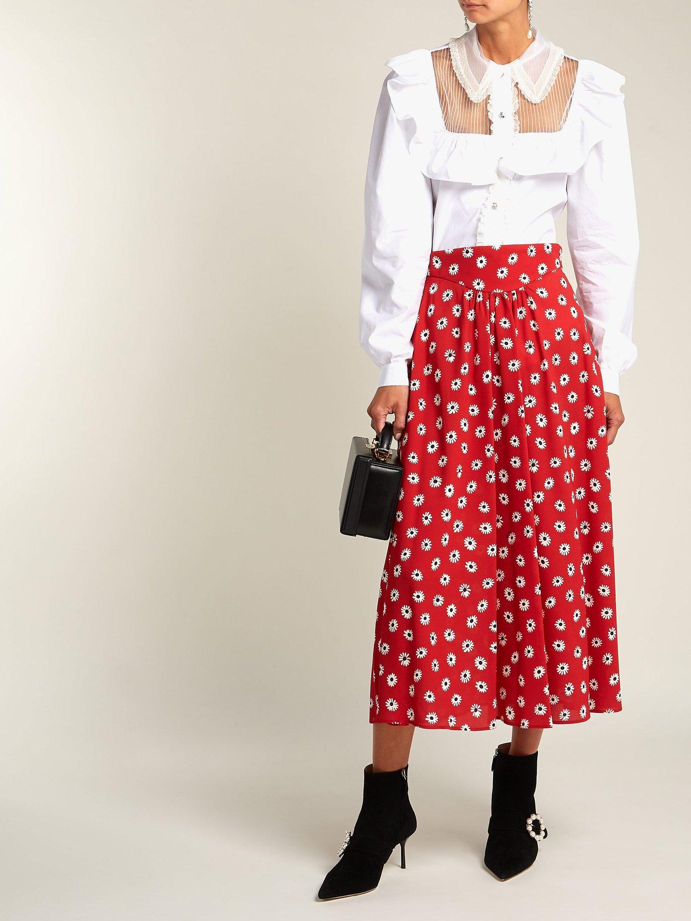 Tie-waist ruffled cotton blouse by Miu Miu
