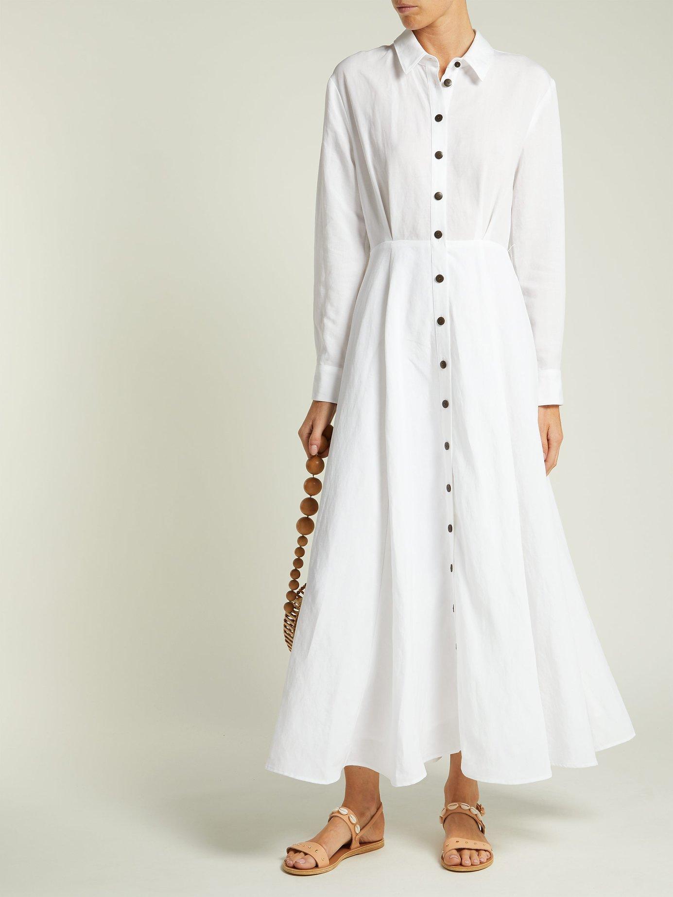 Michelle Tencel® Lyocell and linen midi dress by Mara Hoffman