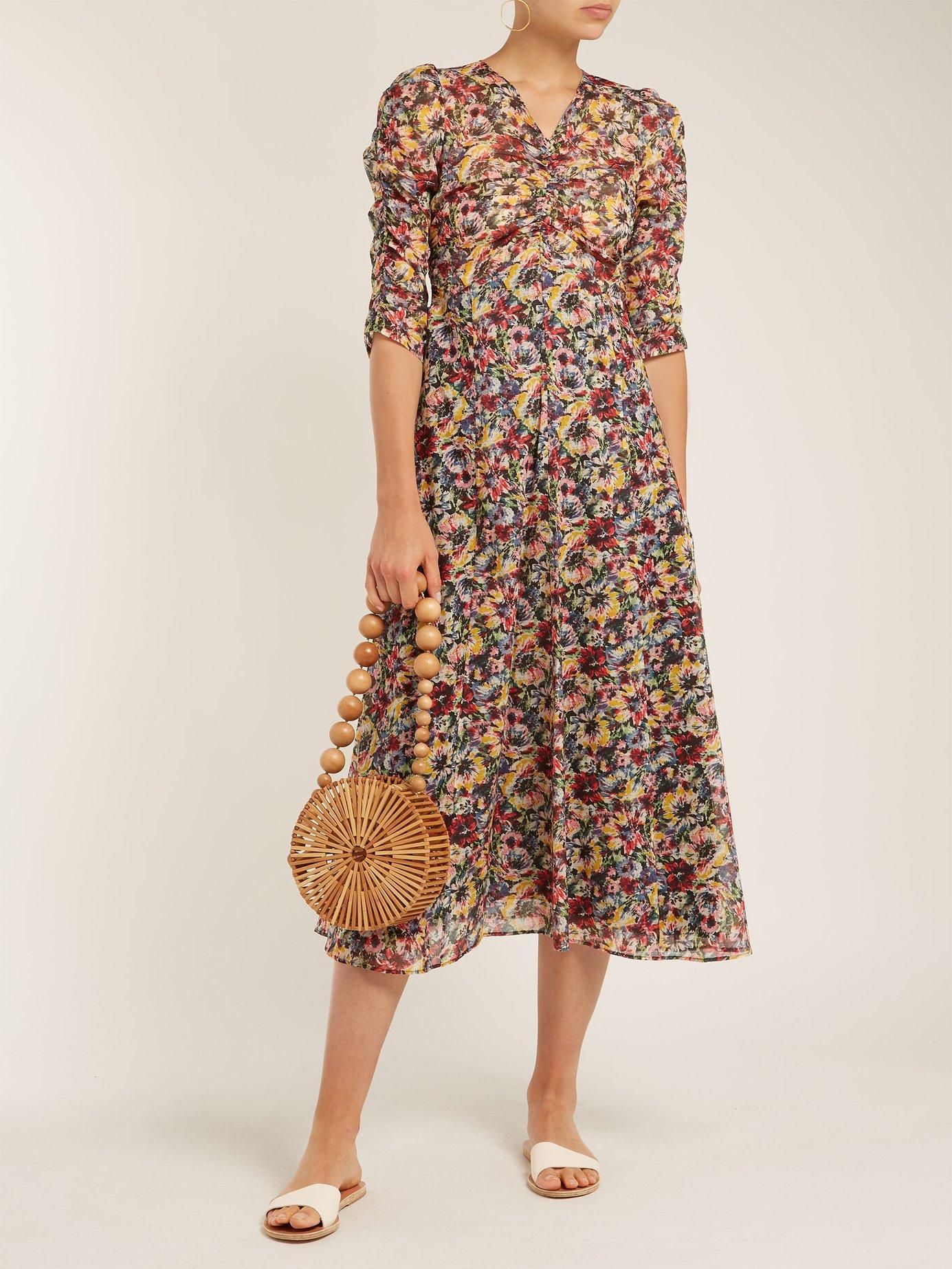 Mina rose-print cotton midi dress by Masscob