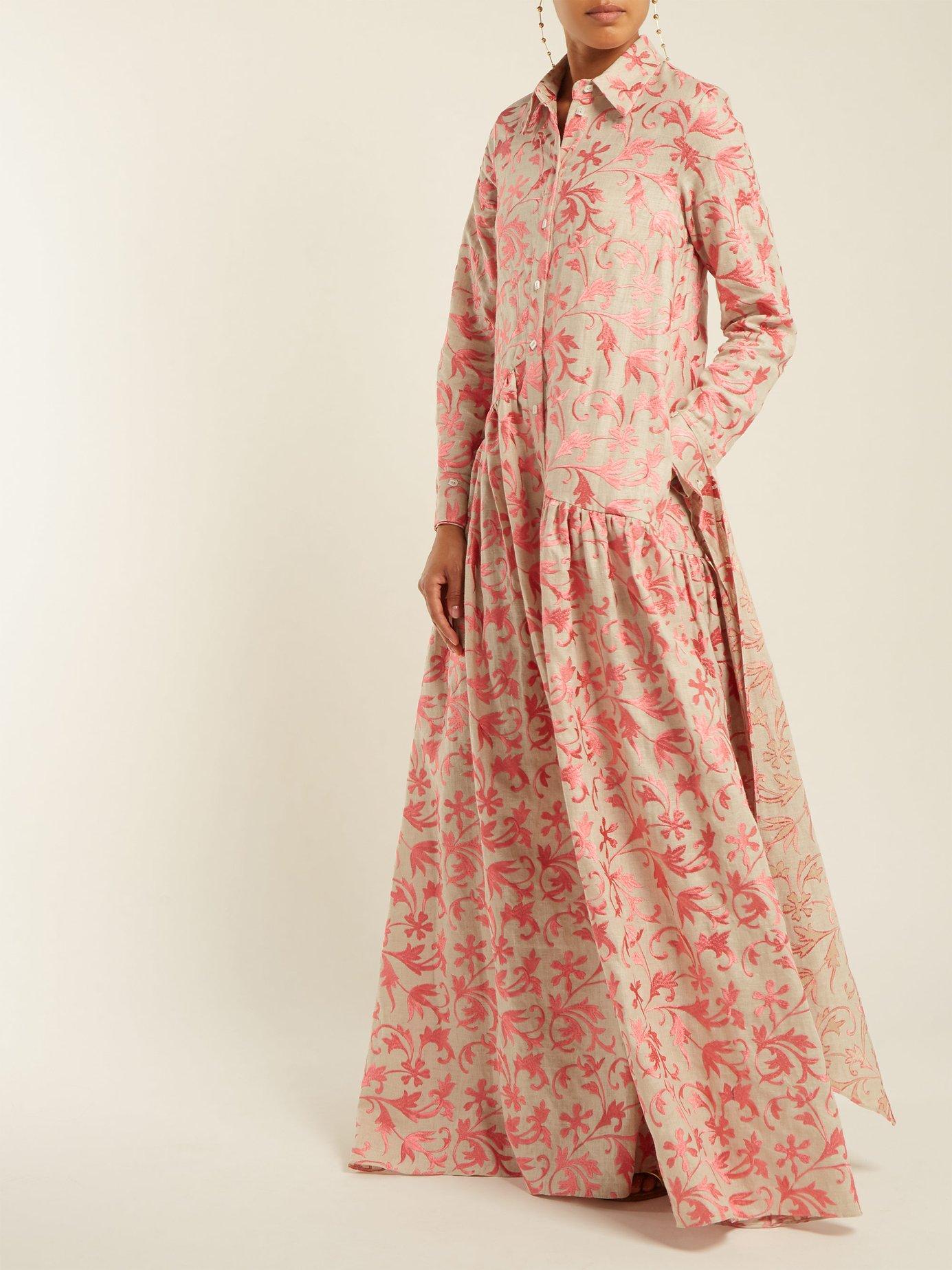 Evaline embroidered linen dress by Osman