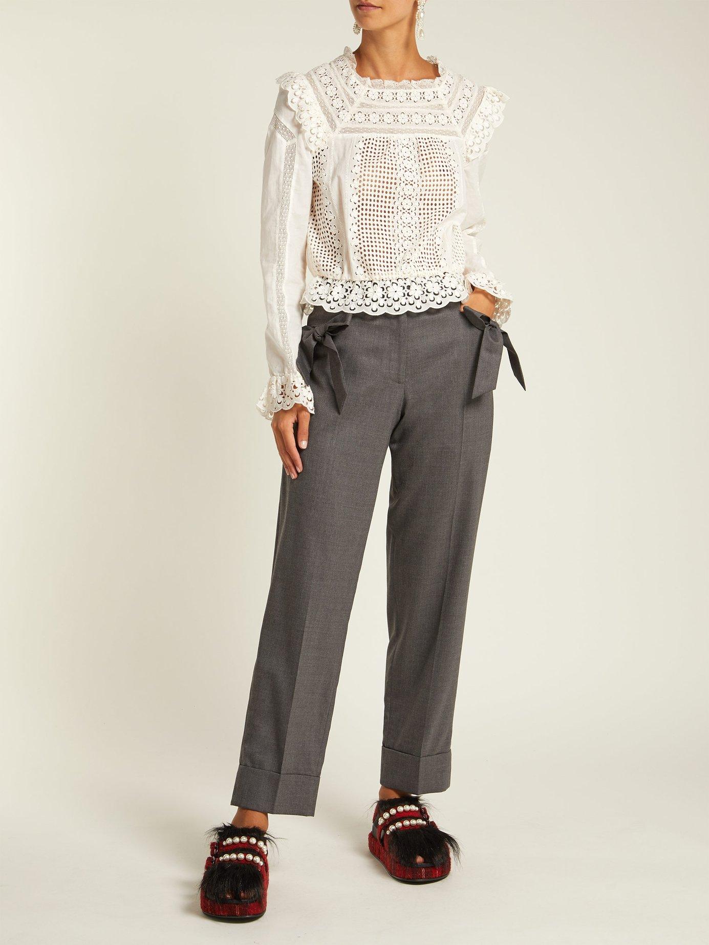 Embellished tartan tweed platform sandals by Simone Rocha