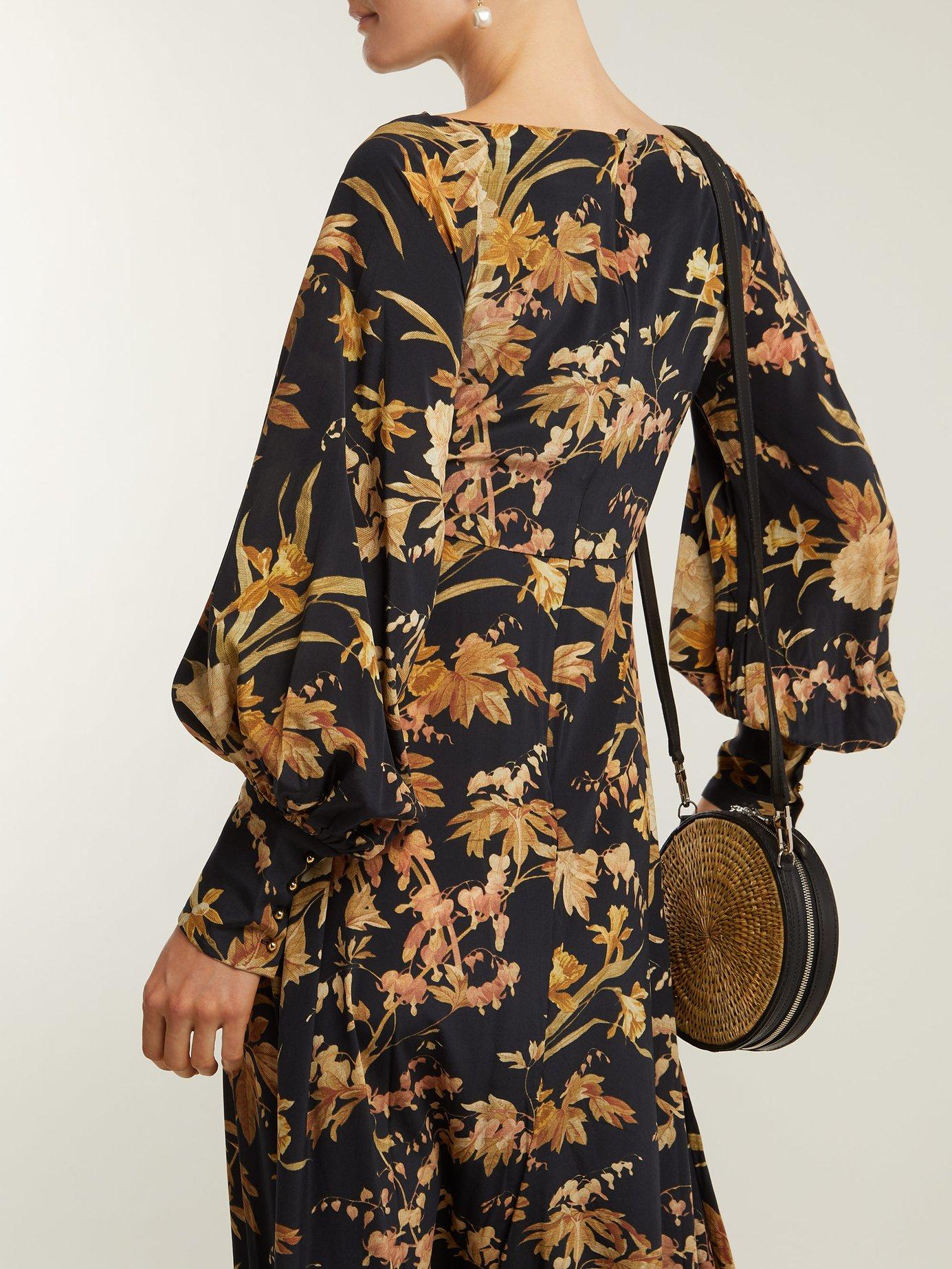 Basque floral-print silk-blend dress by Zimmermann
