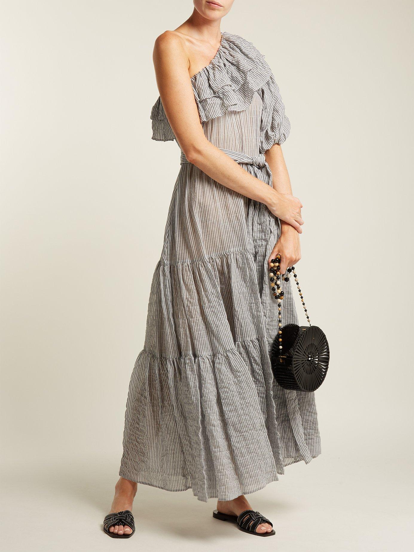 Arden ruffle-trim cotton-blend dress by Lisa Marie Fernandez
